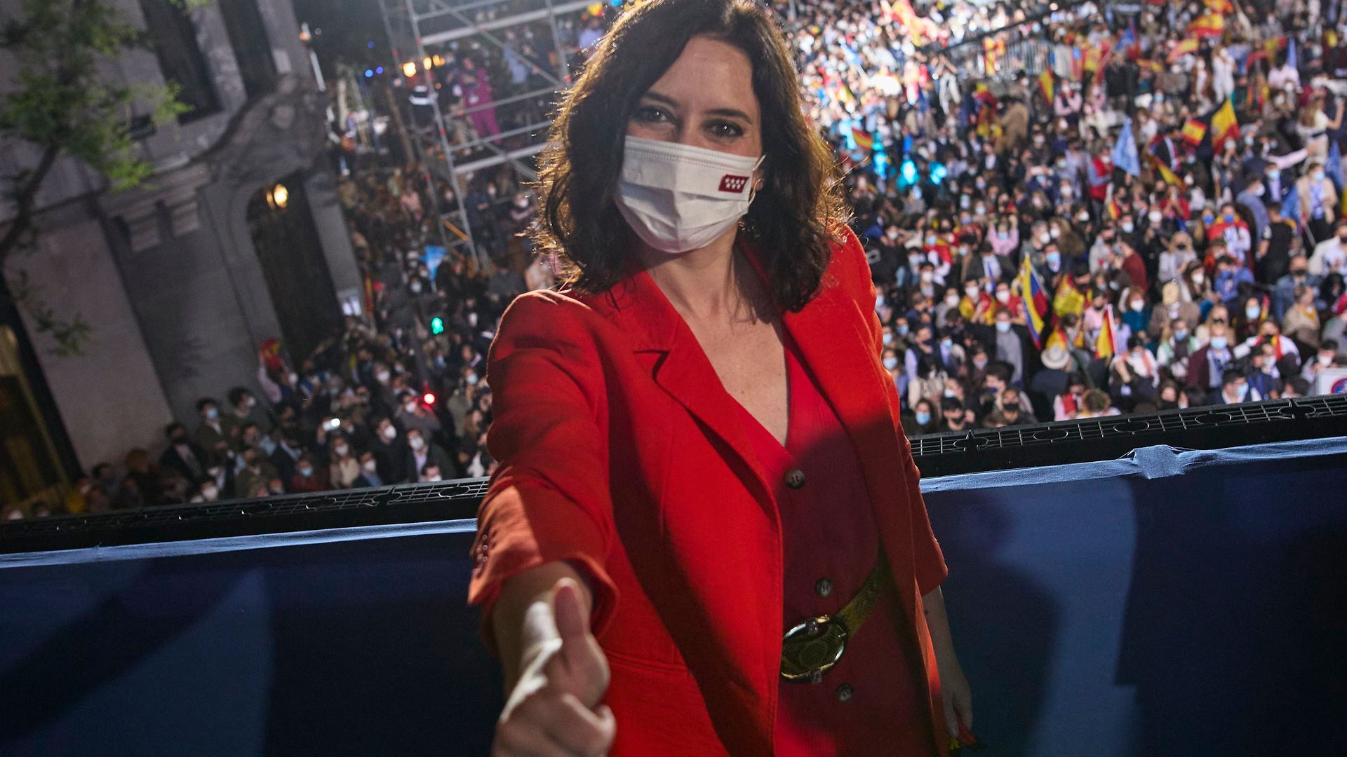 Isabel Diaz Ayuso on the balcony of her party headquarters on the night of the recent election - Credit: Europa Press via Getty Images