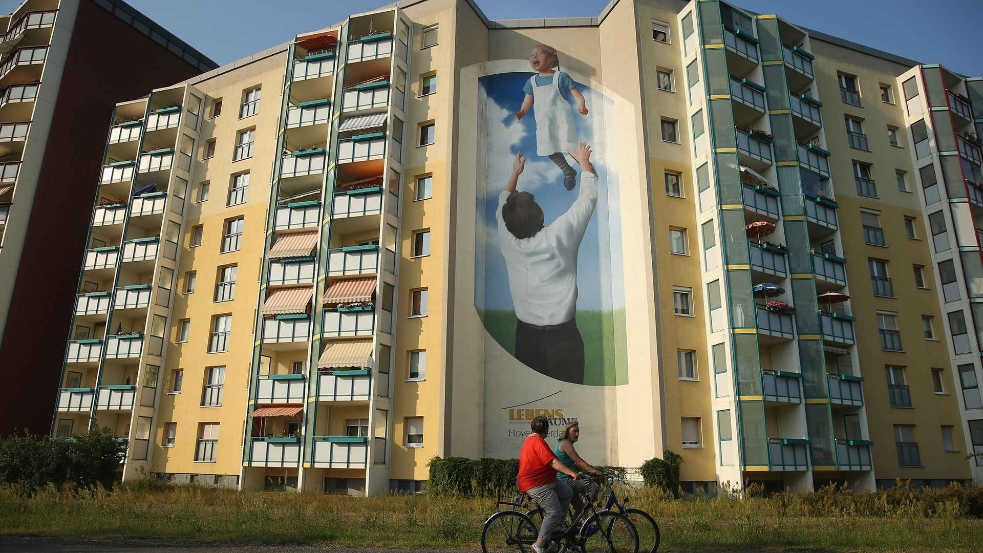 World's greatest windows... an apartment block, complete with mural, in Hoyerswerda, Germany - Credit: Getty Images