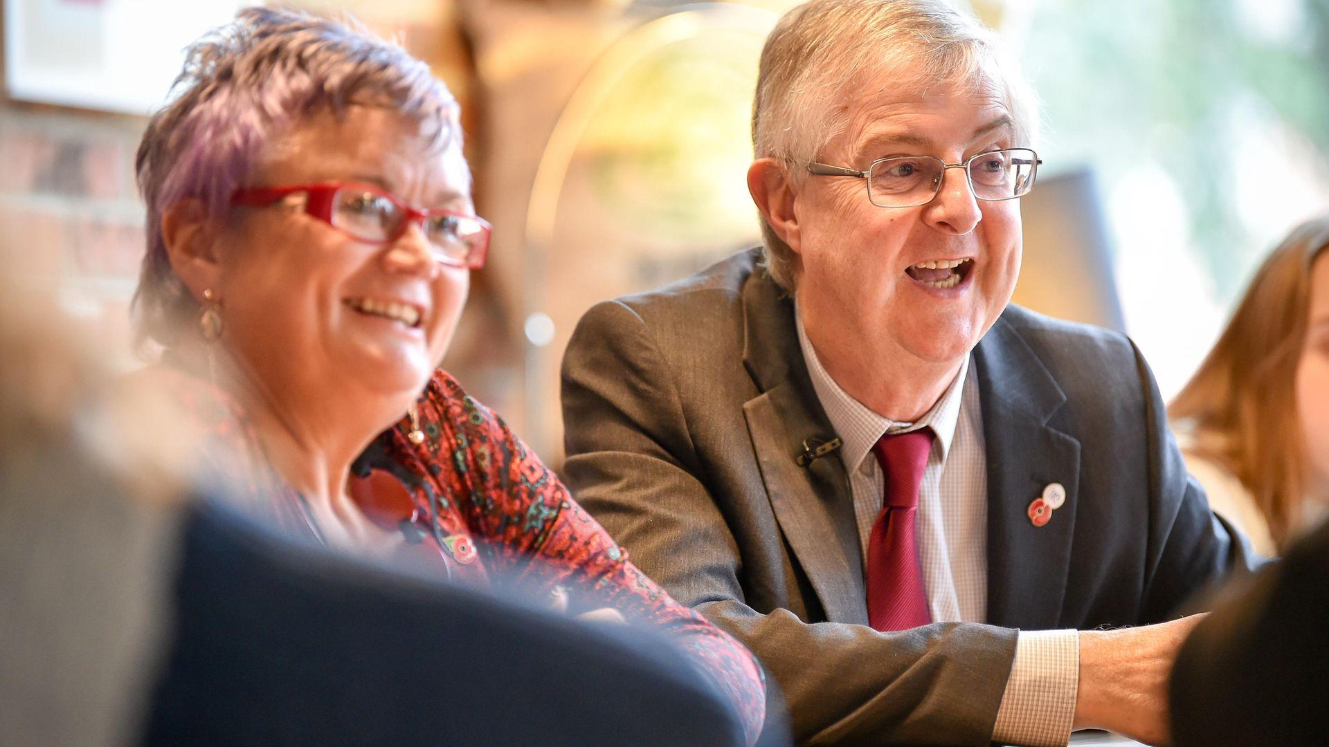 Welsh Labour leader Mark Drakeford AM and deputy leader Carolyn Harris MP - Credit: PA