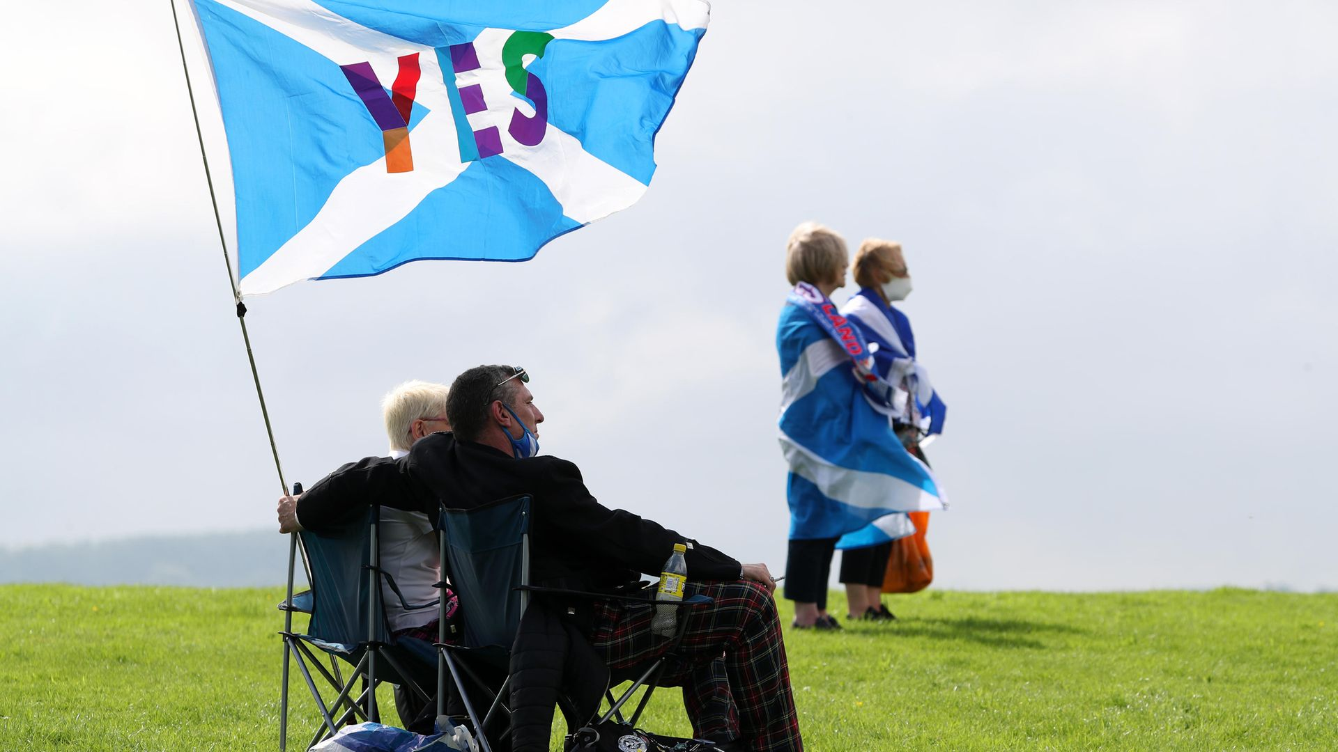 People take part in the All Under One Banner Scottish independence demonstration at the Robert the Bruce statue at the Battle of Bannockburn site near Stirling - Credit: PA