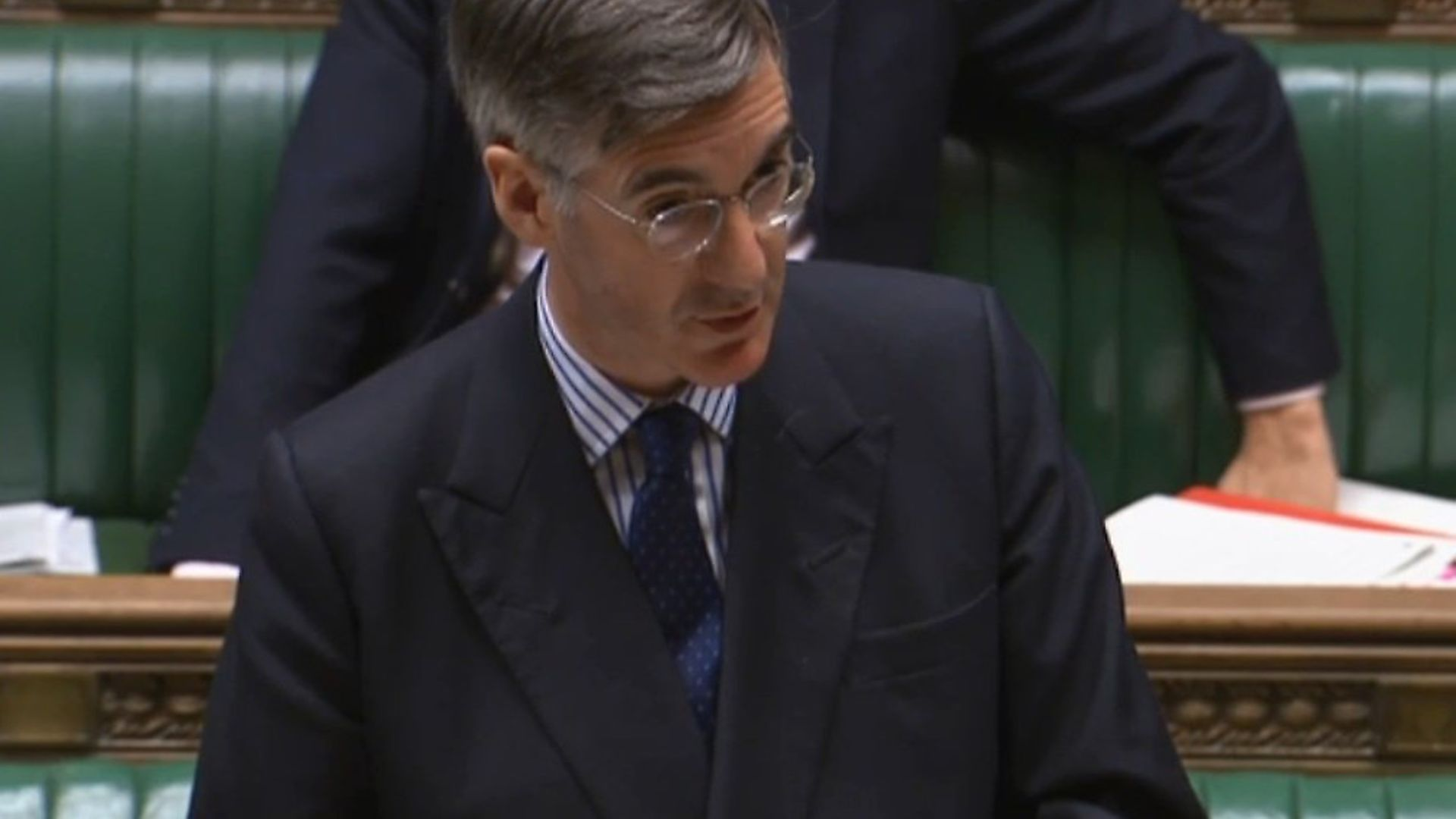 Jacob Rees-Mogg in the House of Commons. Photograph: Parliament TV. - Credit: Archant