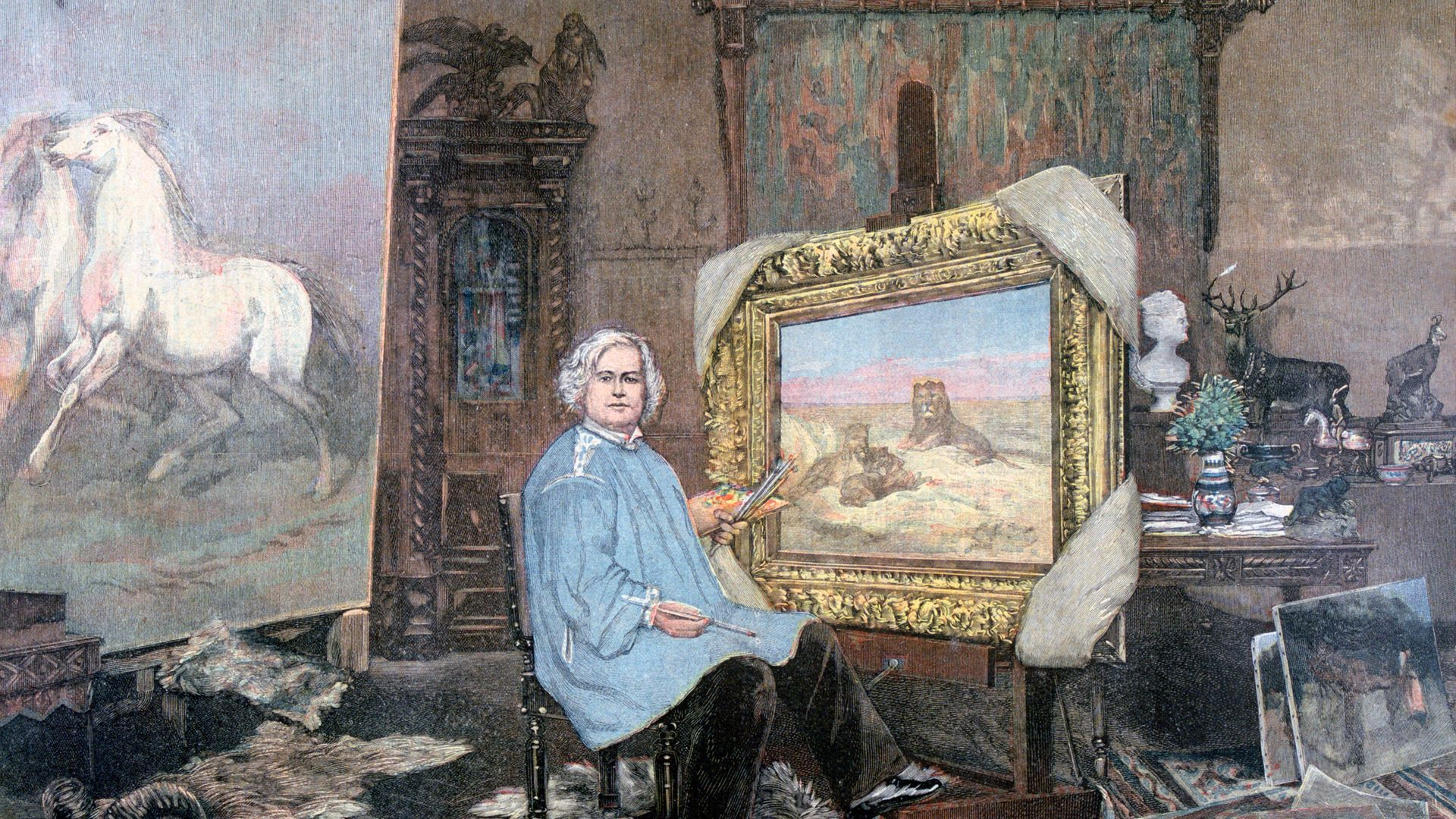Rosa Bonheur in Her Studio. A print from the Le Petit Journal, 1893 - Credit: Print Collector/Getty Images