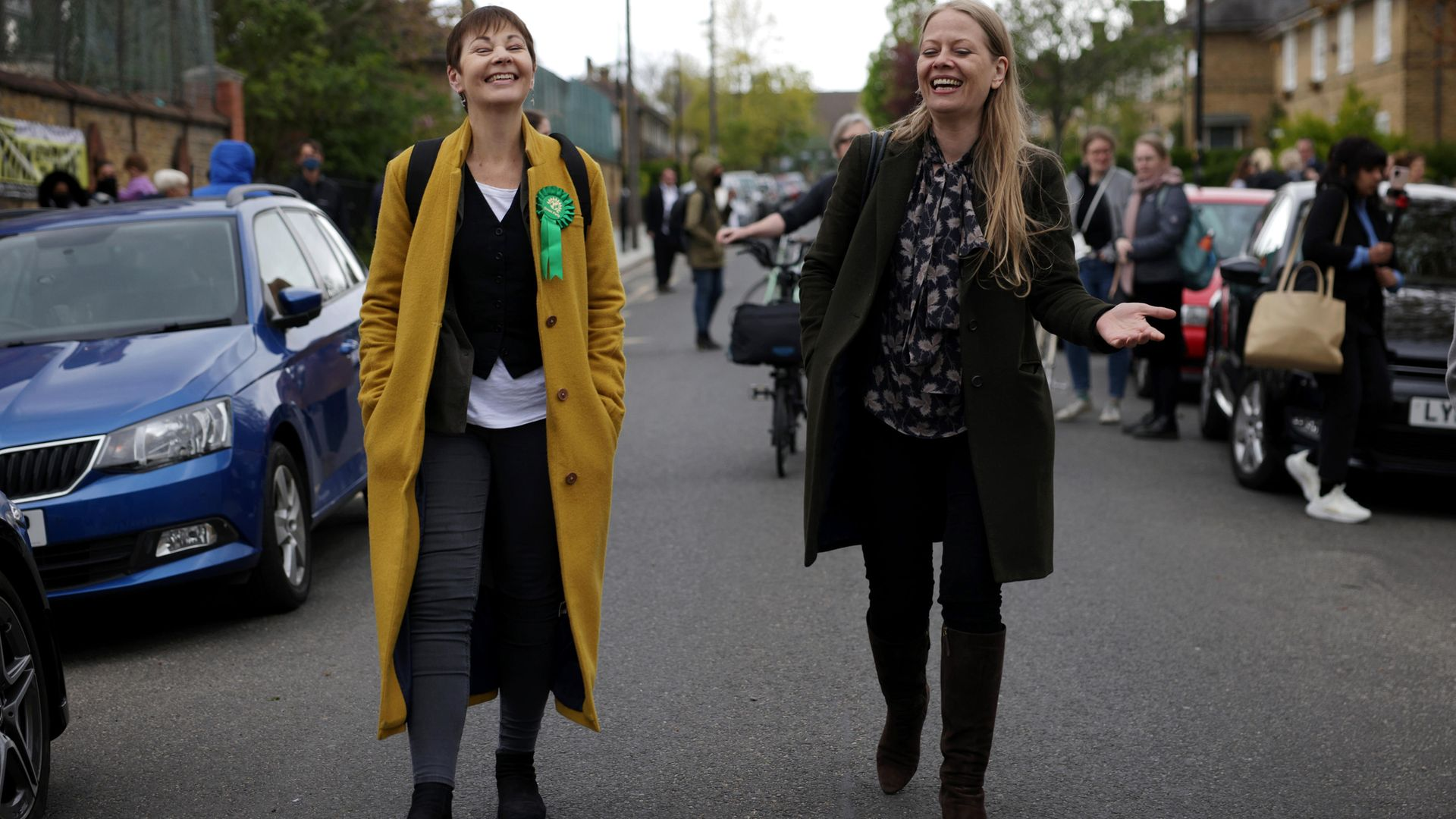 The Greens' only MP, Caroline Lucas, shares a joke with Sian Berry, the party's candidate for London mayor, on the campaign trail recently - Credit: Getty Images