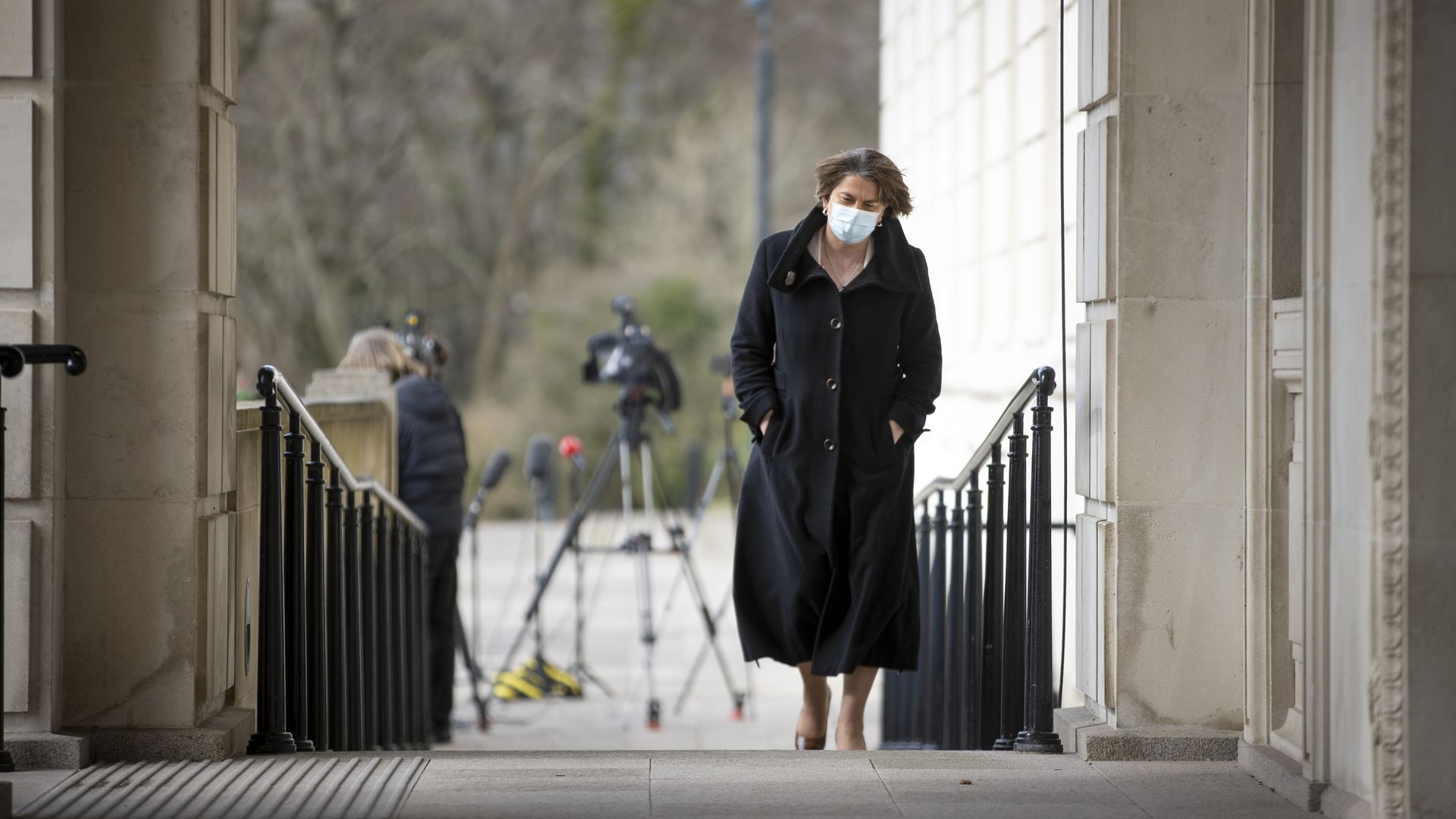 Arlene Foster during a press conference outside Stormont, Belfast - Credit: PA