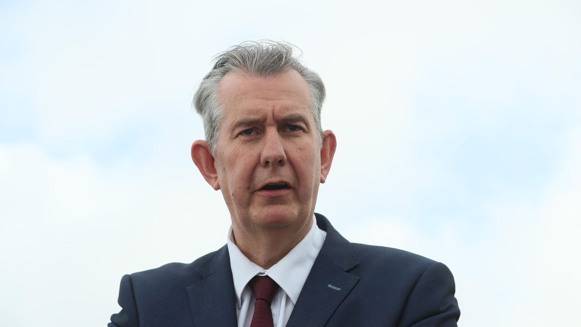 Democratic Unionist Party new elected leader Edwin Poots at Stormont, Belfast - Credit: PA