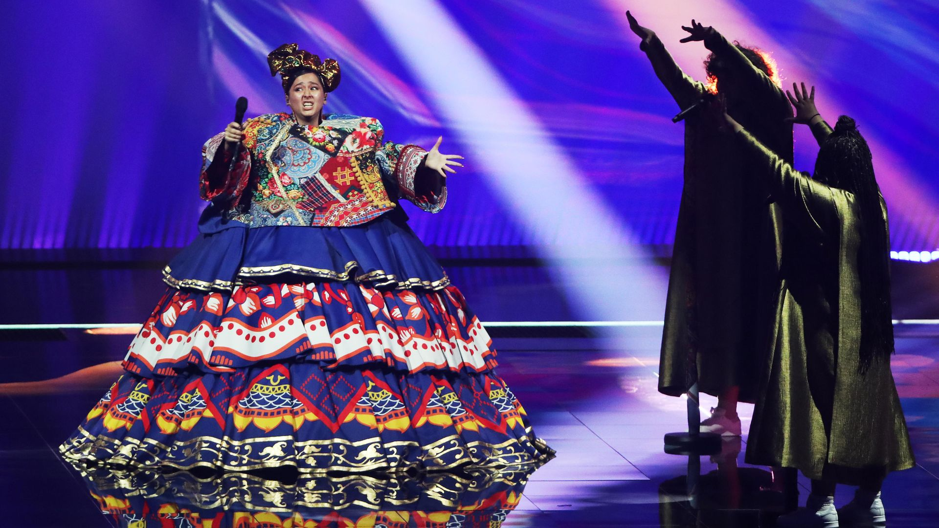 Russian entry Manizha performs during a Eurovision dress rehearsal at the Rotterdam Ahoy Arena. Vyacheslav Prokofyev/TASS (Photo by Vyacheslav ProkofyevTASS via Getty Images) - Credit: Vyacheslav Prokofyev/TASS