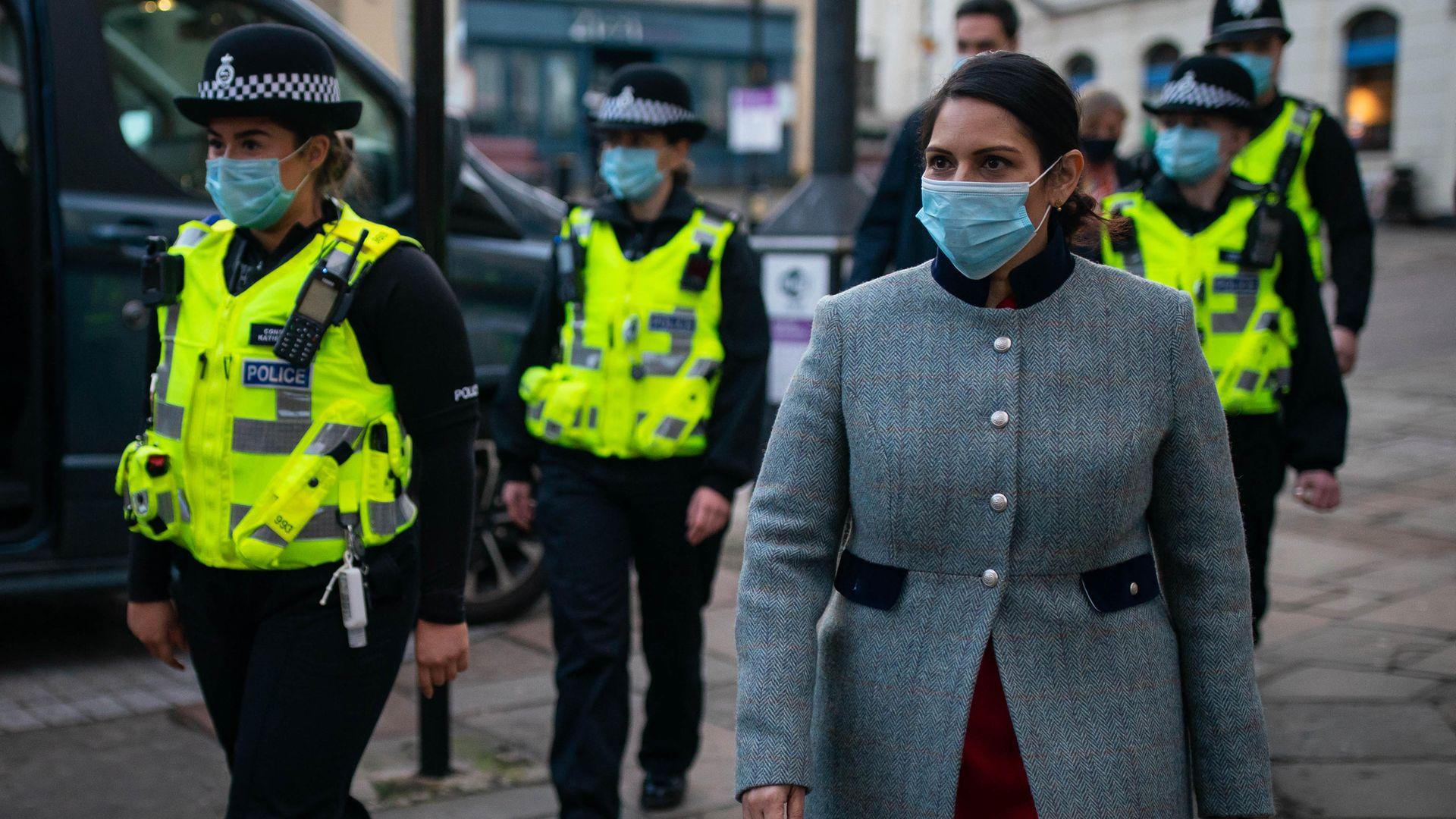 Home Secretary Priti Patel during a foot patrol with new police recruits around Bishop's Stortford, Hertfordshire - Credit: PA