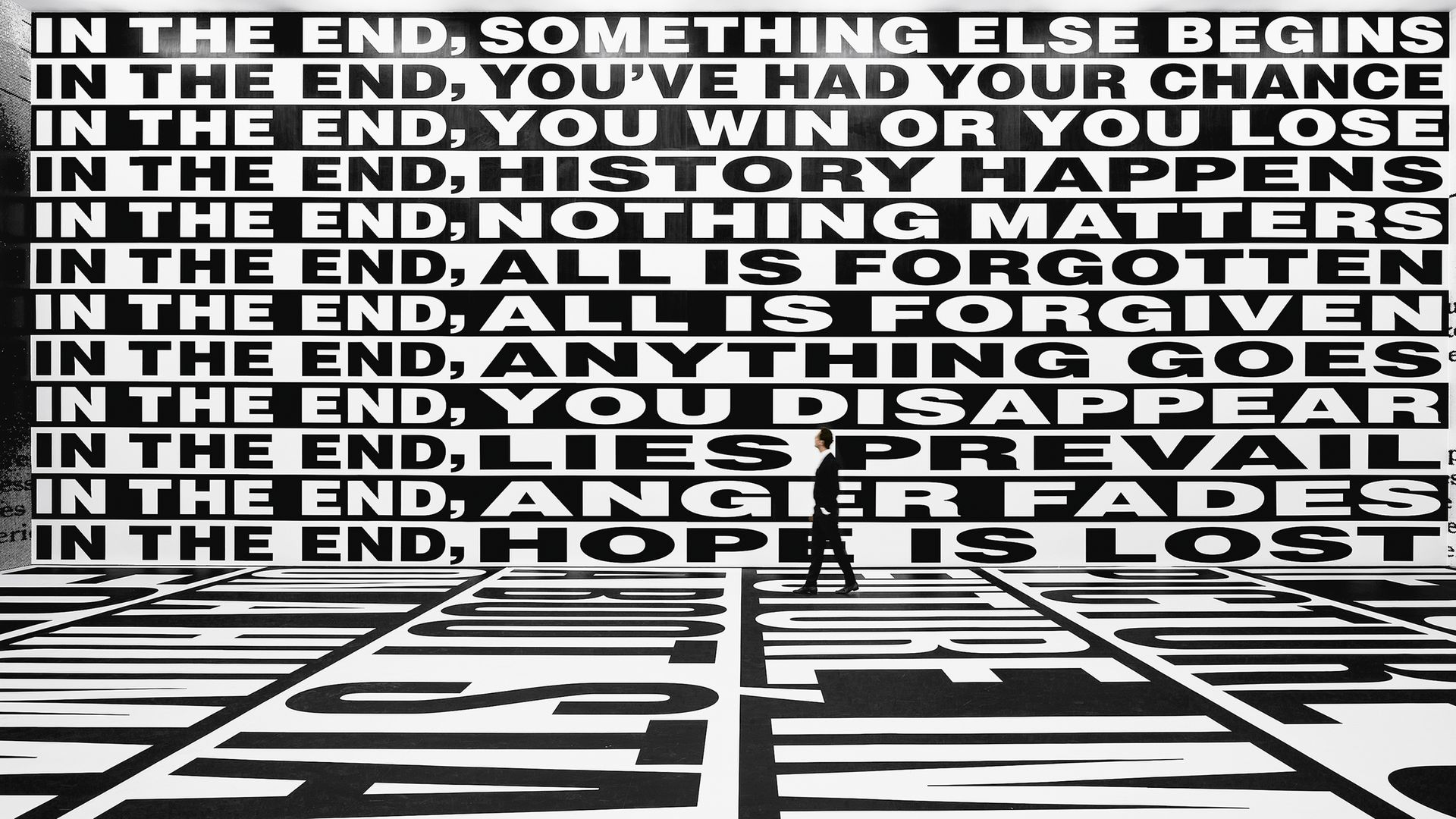 Barbara Kruger. Untitled (Forever), 2017. Installation view, Sprüth Magers, Berlin, 2017–18. Amorepacific Museum of Art (APMA), Seoul. © Barbara Kruger. - Credit: Photo by Timo Ohler and courtesy of Sprüth Magers.