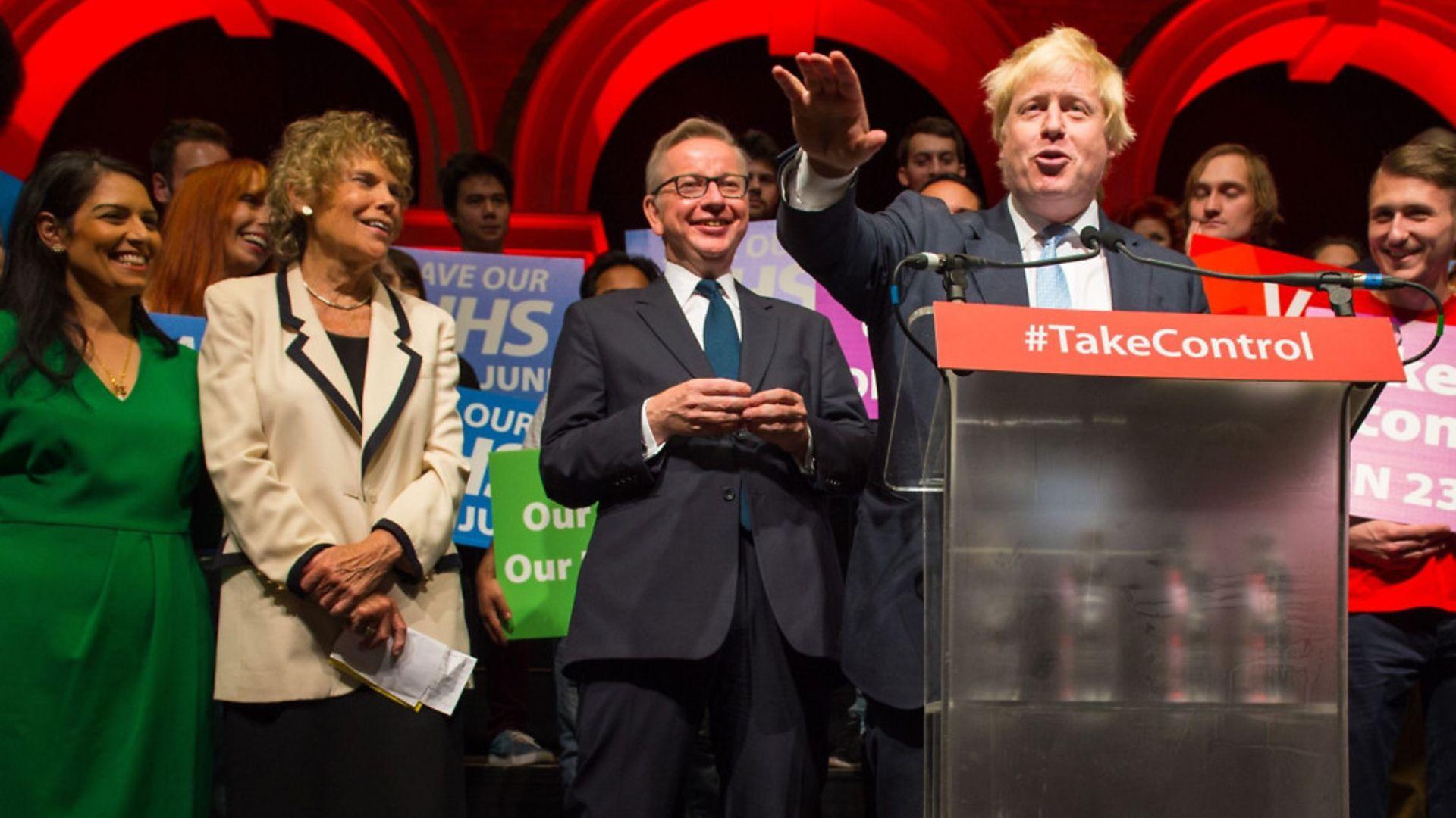 Boris Johnson (right) speaks alongside (from left to centre) Priti Patel, Kate Hoey and Michael Gove. - Credit: Dominic Lipinski/PA