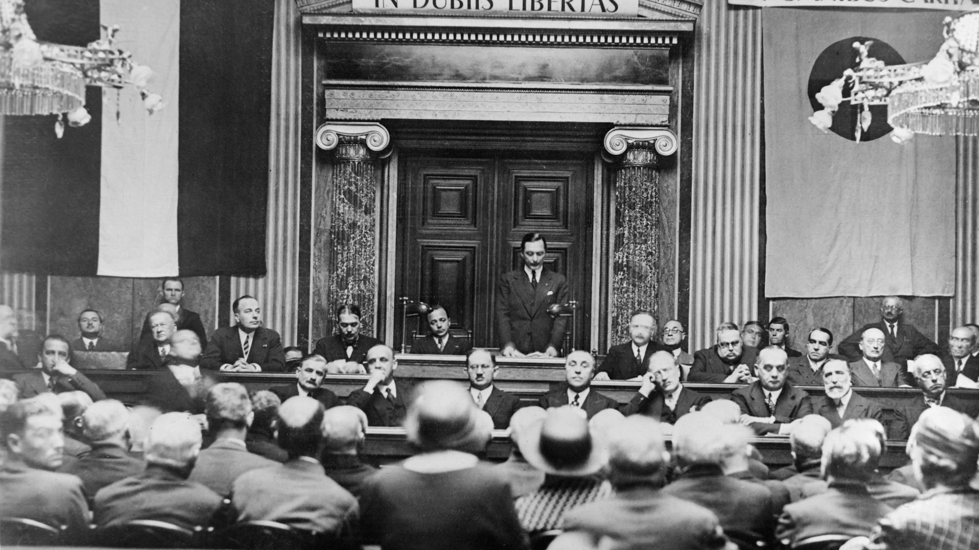 Richard Coudenhove-Kalergi, founder and president of the Pan American Union, opens the inaugural session of the Pan-American Congress in Vienna in May 1934 - Credit: Gamma-Keystone via Getty Images