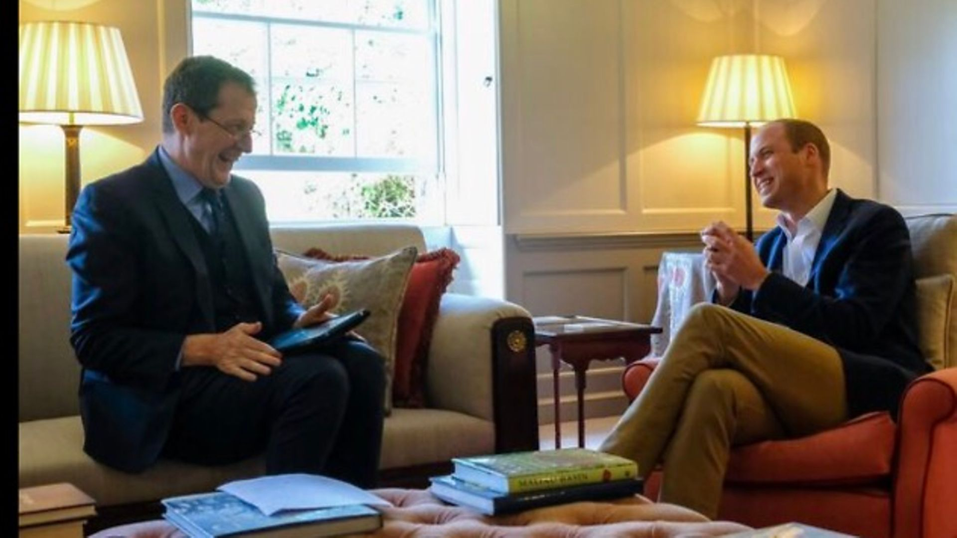 Alastair Campbell interviewing Prince William in 2017 - Credit: Alastair Campbell