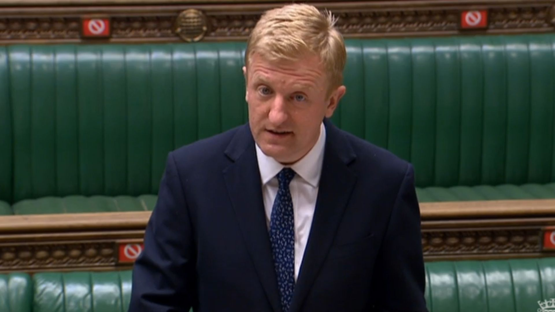 Culture secretary Oliver Dowden said the BBC should 'project British values' or face losing its licence fee - Credit: PA