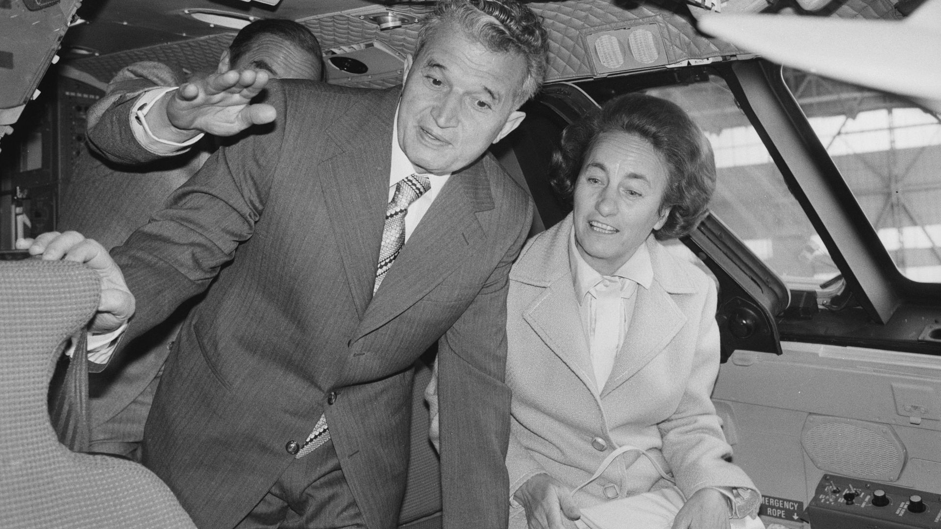 Nicolae and Elena Ceausescu in the cockpit of a Concorde during a visit to the British Aerospace and Rolls-Royce Aero-Engine factories in Bristol, June 1978 - Credit: Photo by Steve Burton/Keystone/Hulton Archive/Getty Images