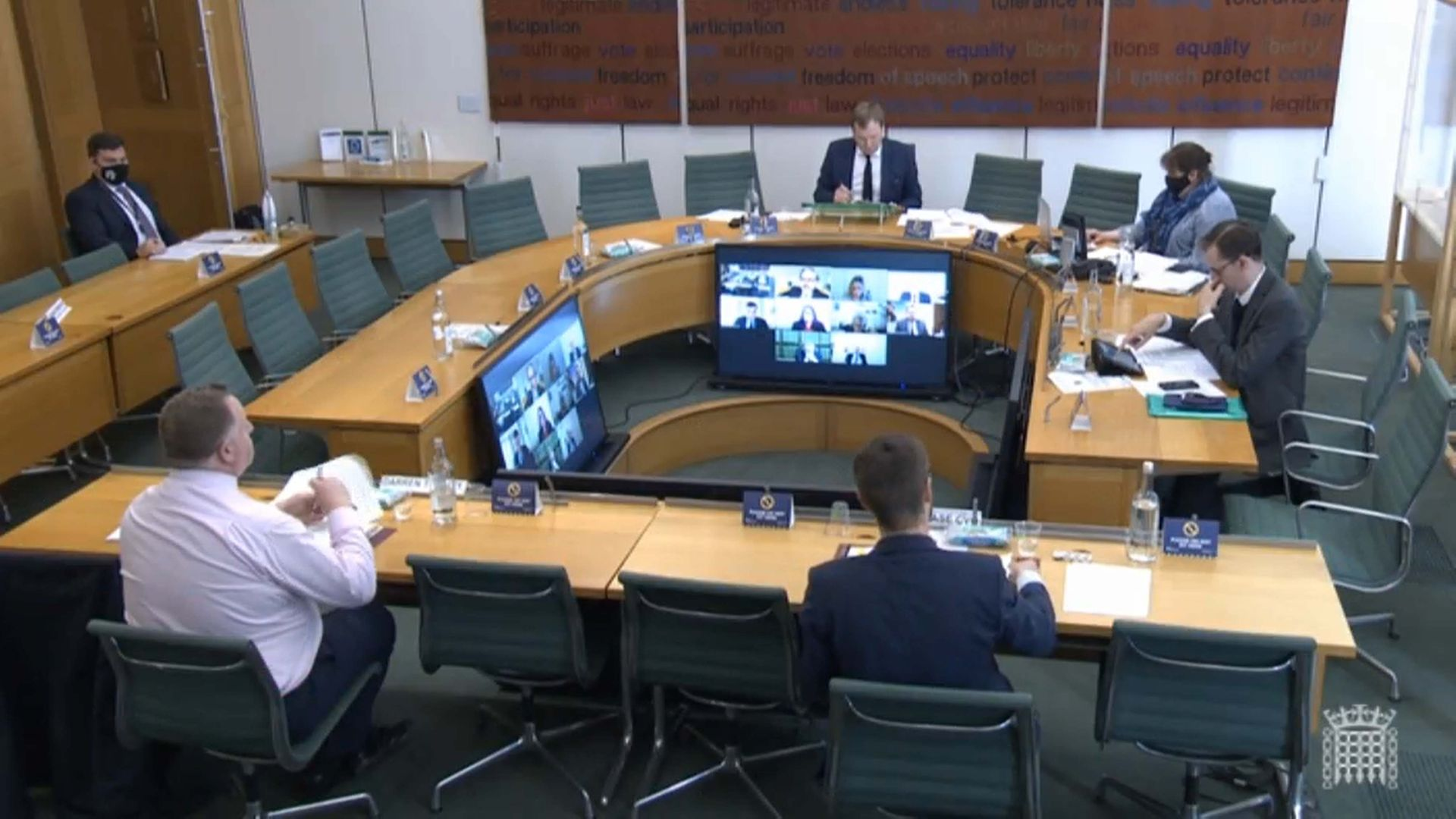 Simon Case, the Cabinet Secretary and the UK's most senior civil servant, (front right) giving evidence on the work of the Cabinet Office to the Commons Public Administration and Constitutional Affairs Committee (PACAC) in April - Credit: PA