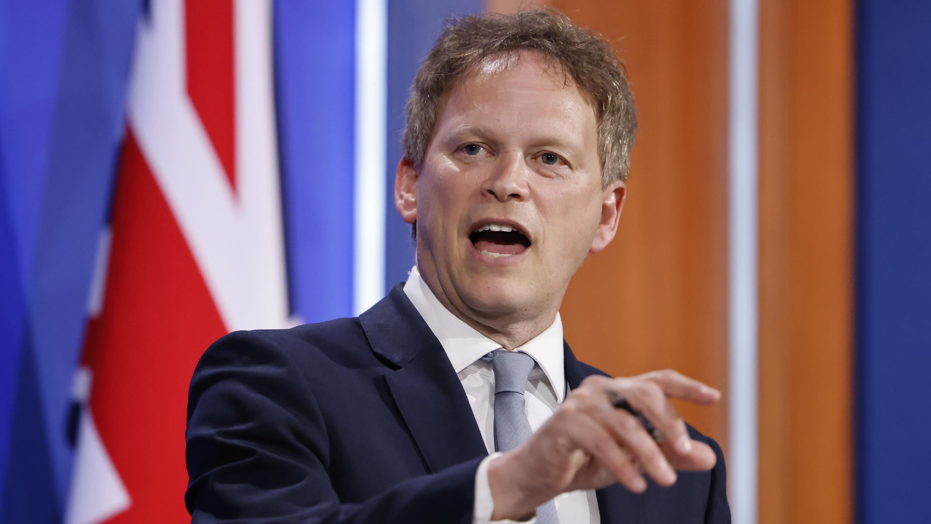 Transport secretary Grant Shapps during a media briefing in Downing Street, London - Credit: PA