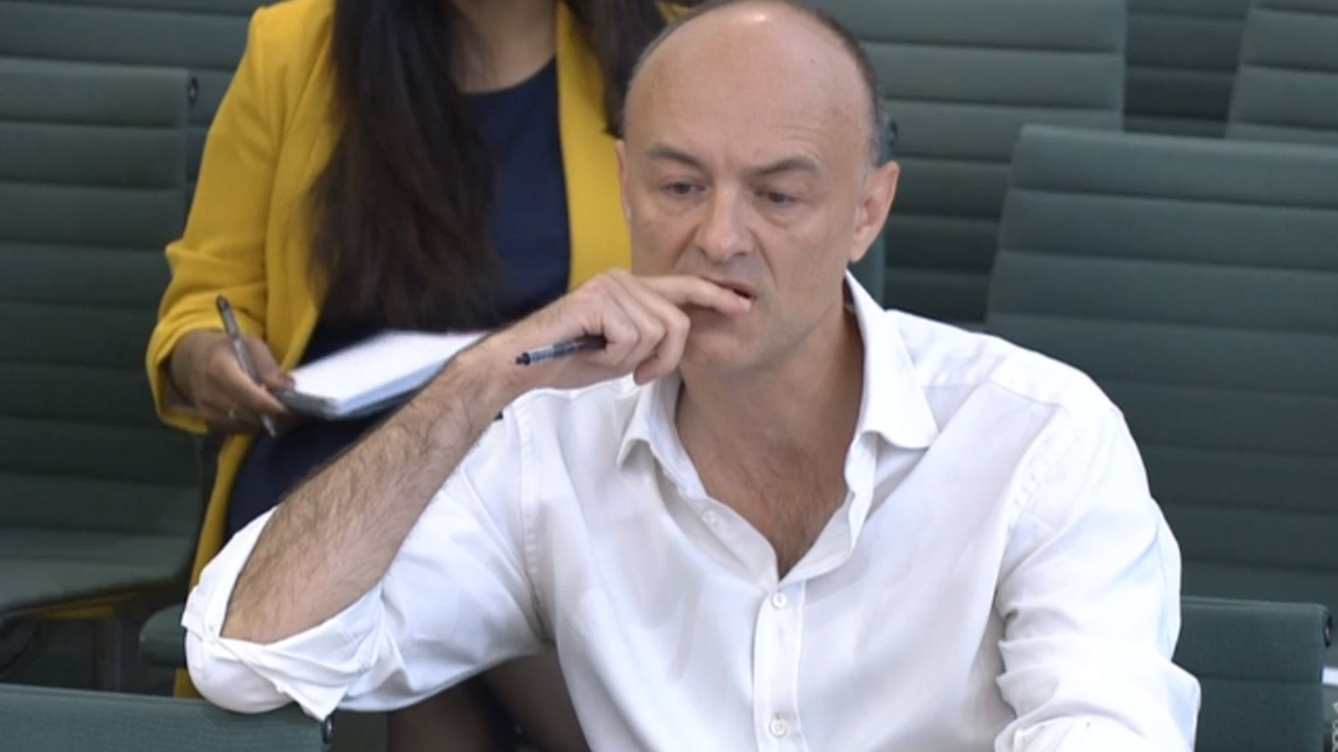 Dominic Cummings, former chief adviser to prime minister Boris Johnson, giving evidence to a joint inquiry of the Commons Health and Social Care and Science and Technology Committees on the subject of coronavirus - Credit: PA