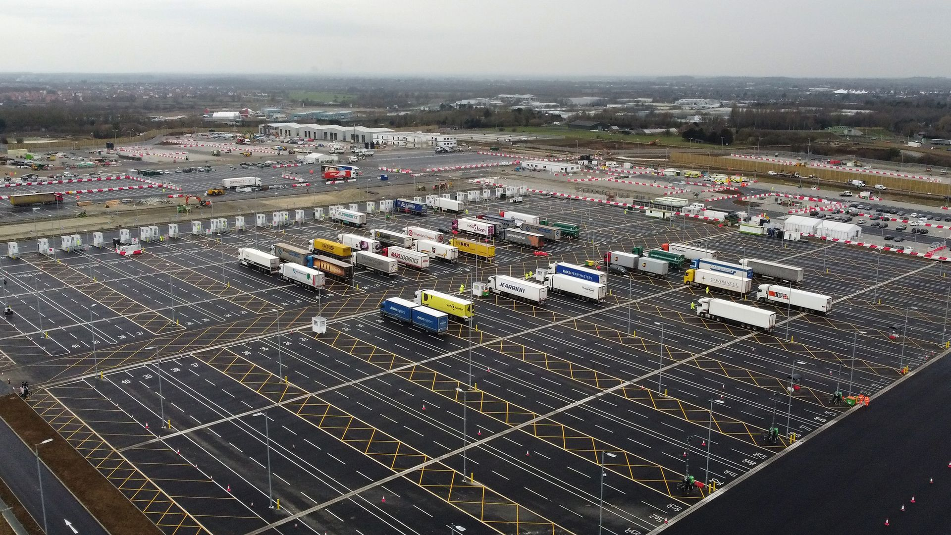 A view of the Sevington Inland Border Facility in Ashford, Kent, as the government continues to develop a 27-acre site into a post-Brexit lorry park
