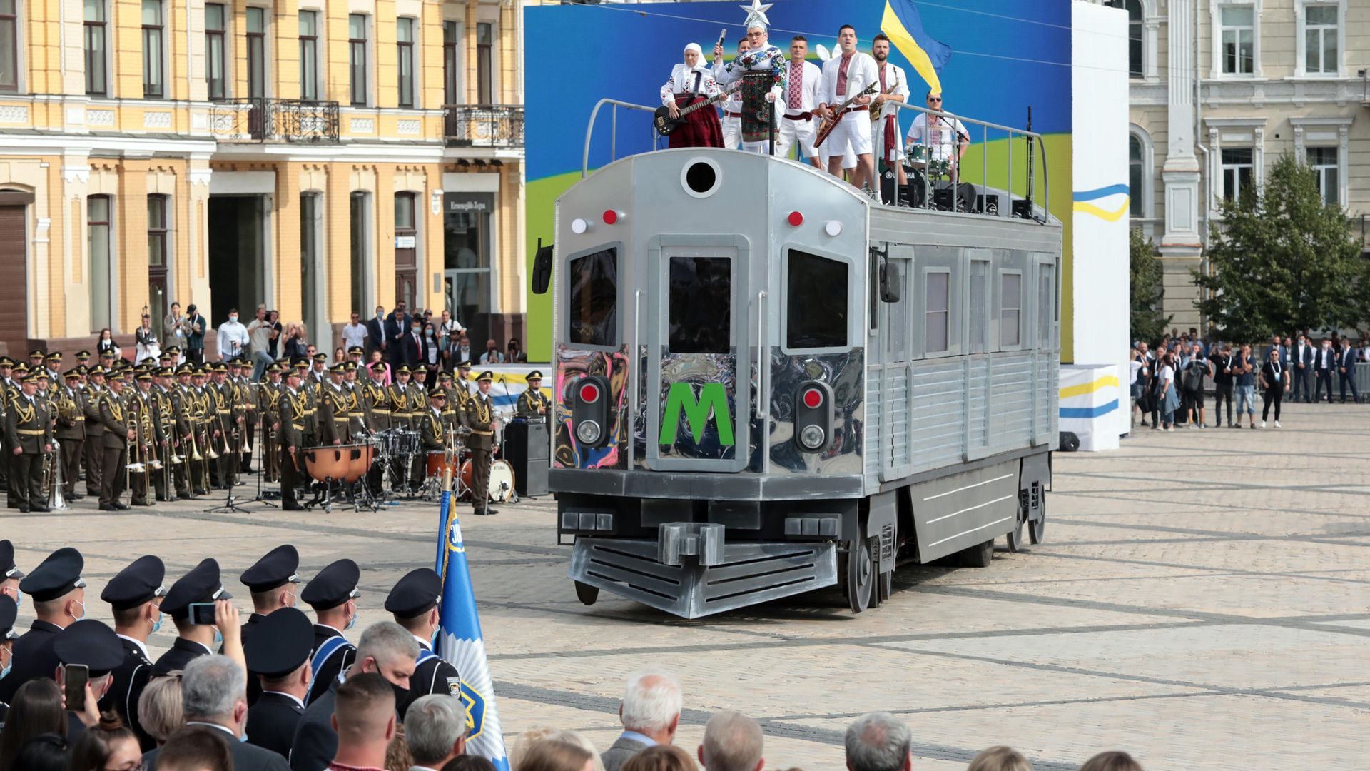 Singer Verka Serduchka (Andrii Danylko) makes a flamboyant appearance atop a 'train' for Ukraine's 29th Independence Day celebration in Kiev, in August 2020 - Credit: Barcroft Media via Getty Images
