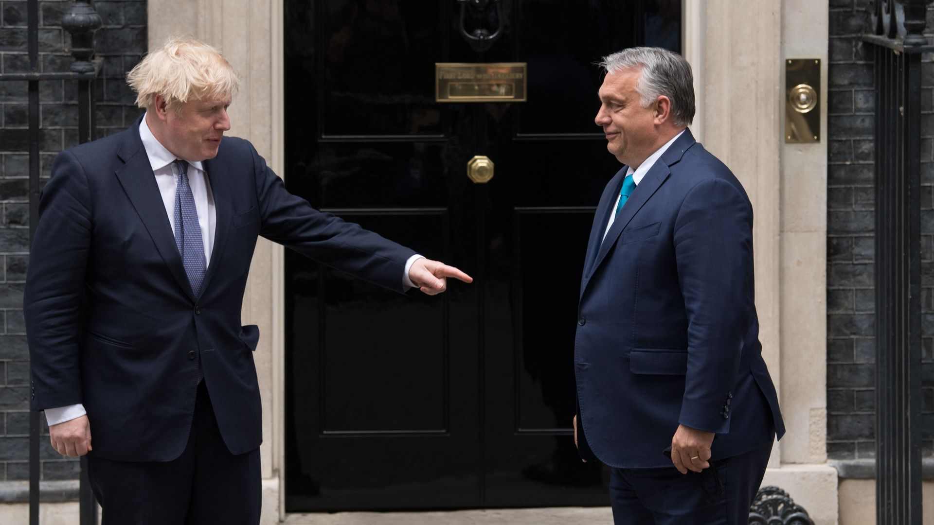 Prime Minister Boris Johnson welcomes the Prime Minister of Hungary, Viktor Orban, into 10 Downing Street - Credit: PA