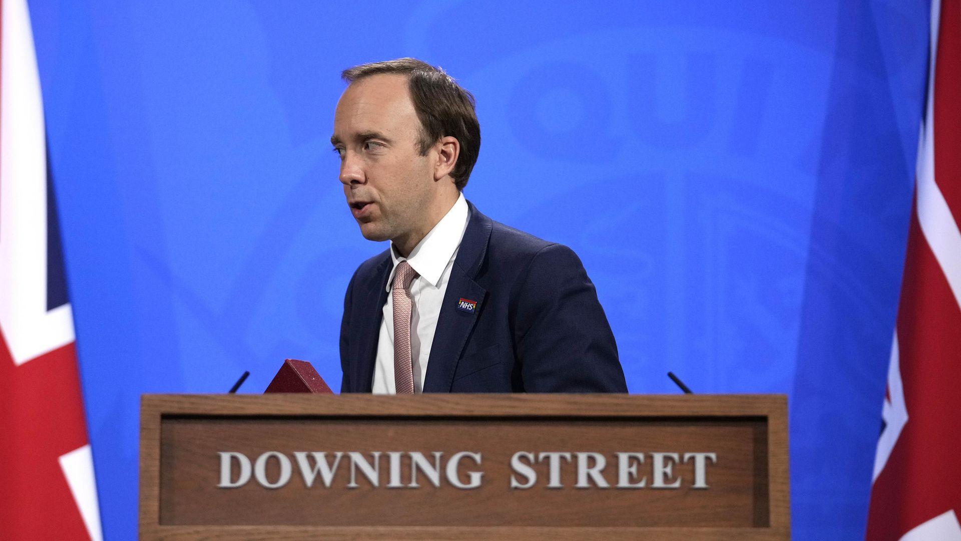 Health Secretary Matt Hancock leaves following a media briefing in Downing Street - Credit: PA