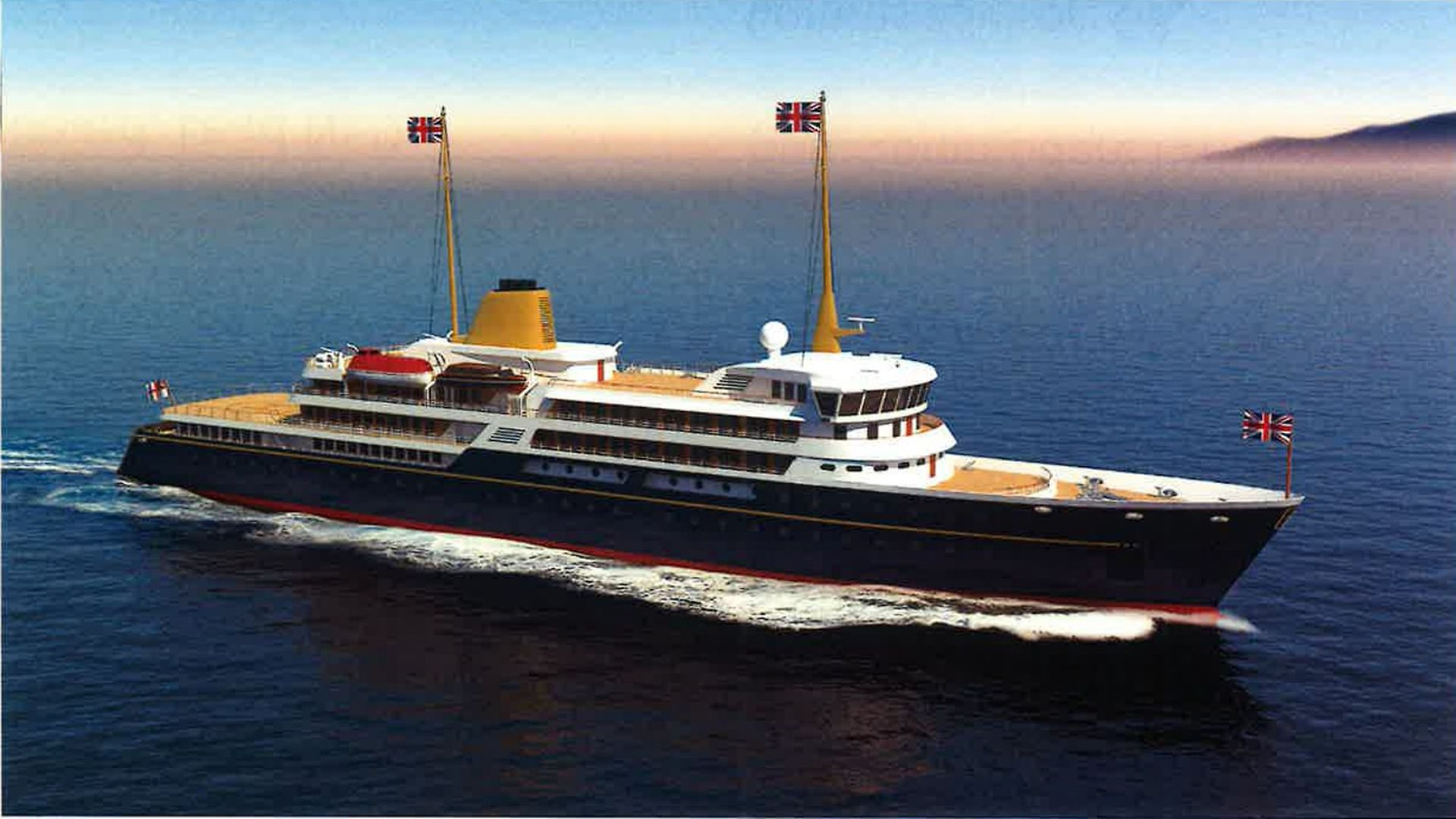 Handout image issued by 10 Downing Street showing an artist's impression of a new national flagship, the successor to the Royal Yacht Britannia, which Prime Minister Boris Johnson has said will promote British trade and industry around the world. Issue date: Sunday May 30, 2021. - Credit: PA