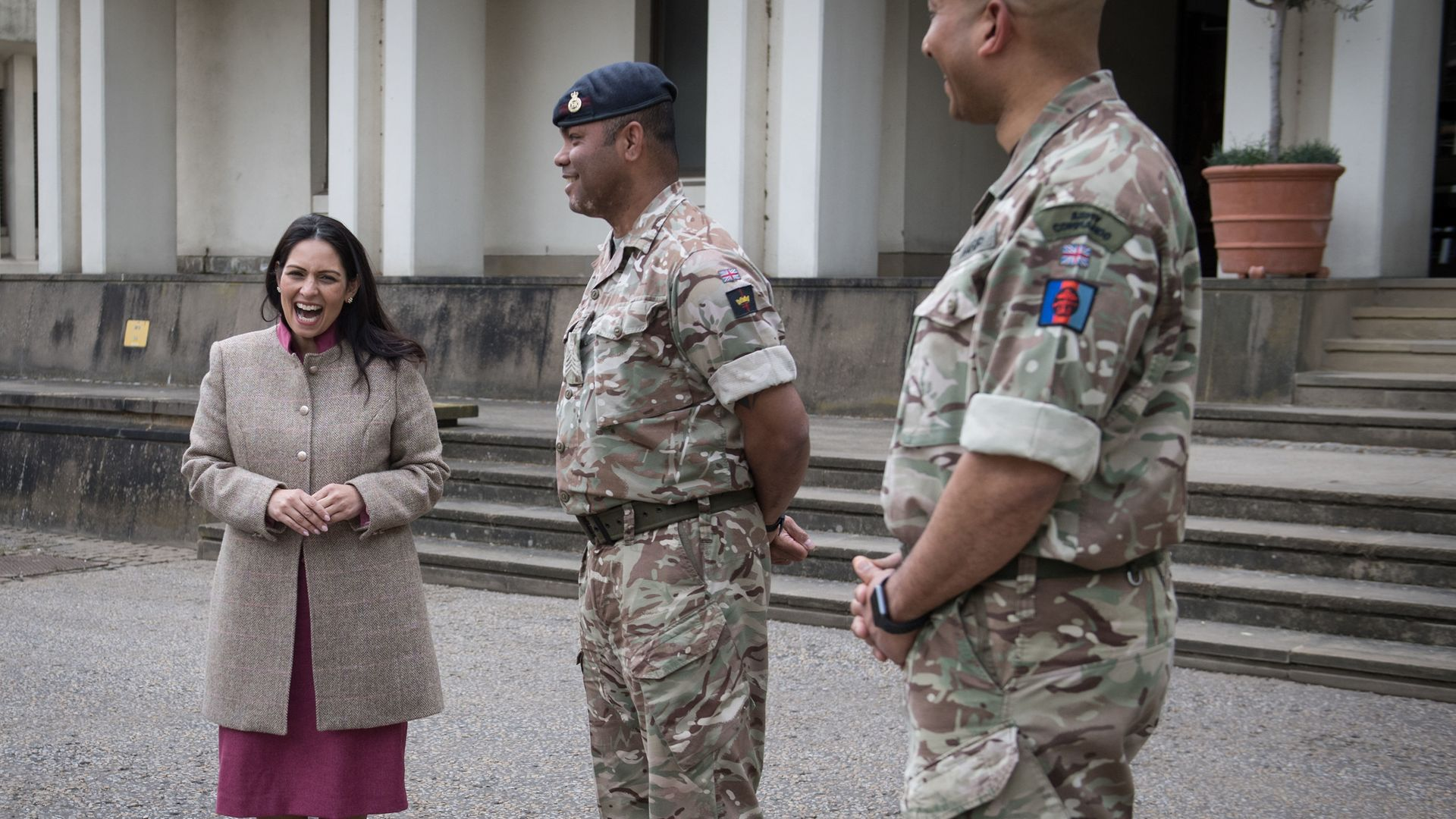 Home secretary Priti Patel during a visit to Wellington Barracks to meet service personnel - Credit: PA