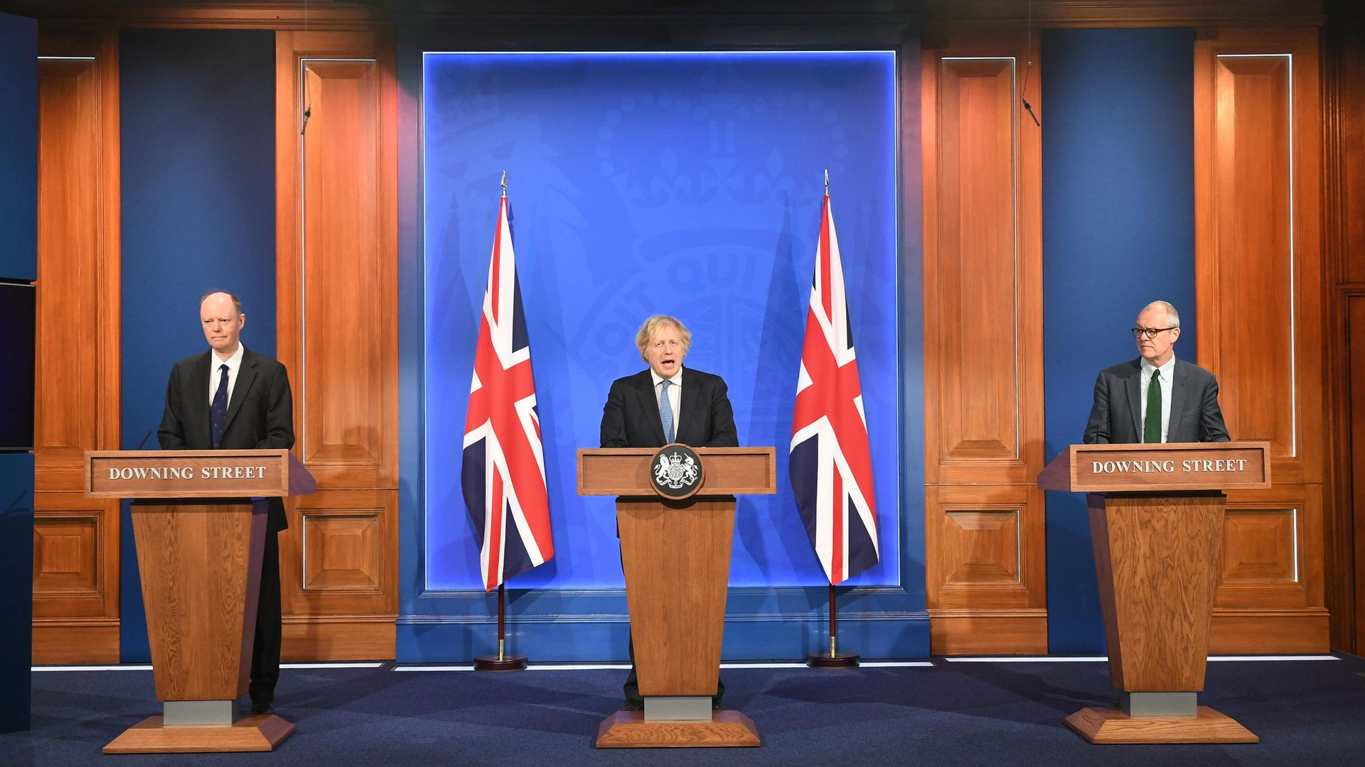 (left to right) Chief Medical Officer Professor Chris Whitty, Prime Minister Boris Johnson and Chief scientific adviser Sir Patrick Vallance, during a media briefing in Downing Street - Credit: PA