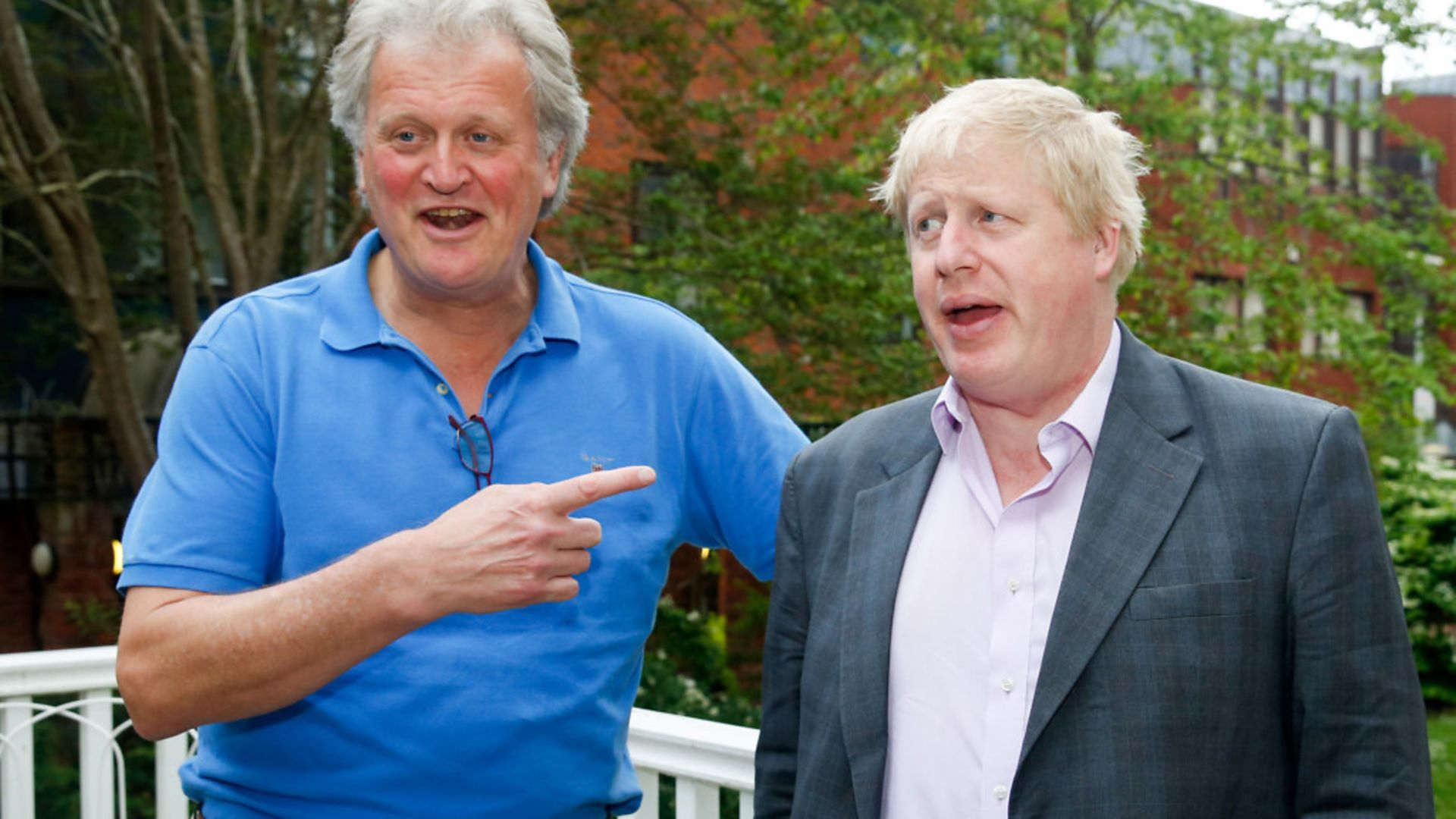 Tim Martin and Boris Johnson at a drinks reception during the EU referendum campaign - Credit: Bloomberg via Getty Images