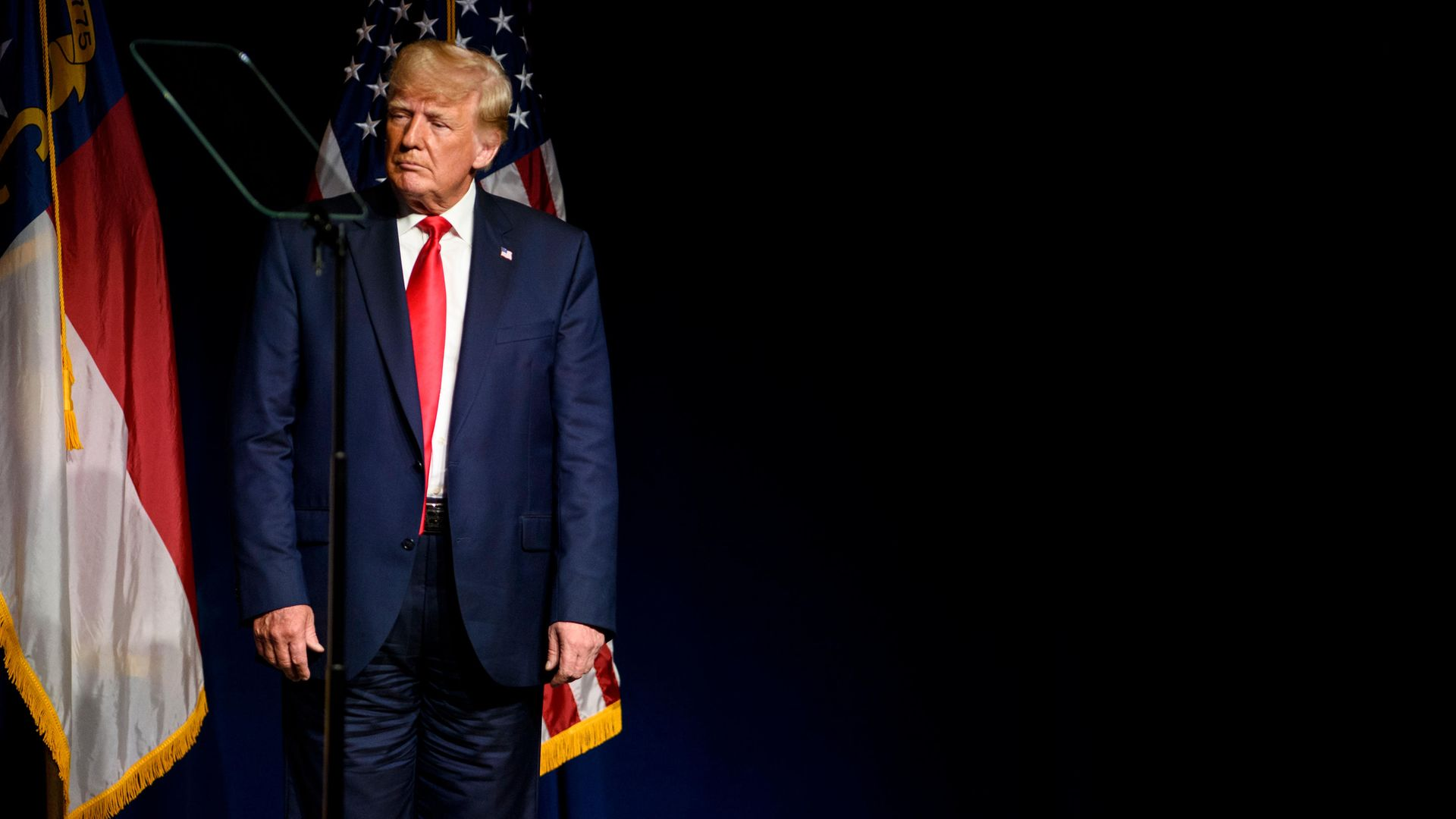 Former U.S. president Donald Trump appears to be wearing his trousers back-to-front at the Republicans' North Carolina state convention on June 5, 2021 in Greenville, North Carolina. - Credit: Photo by Melissa Sue Gerrits/Getty Images