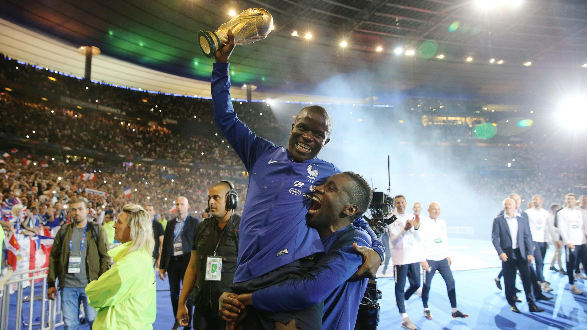 N'Golo Kante and Blaise Matuidi of France celebrate with the World Cup trophy - Credit: Photo by Xavier Laine/Getty Images