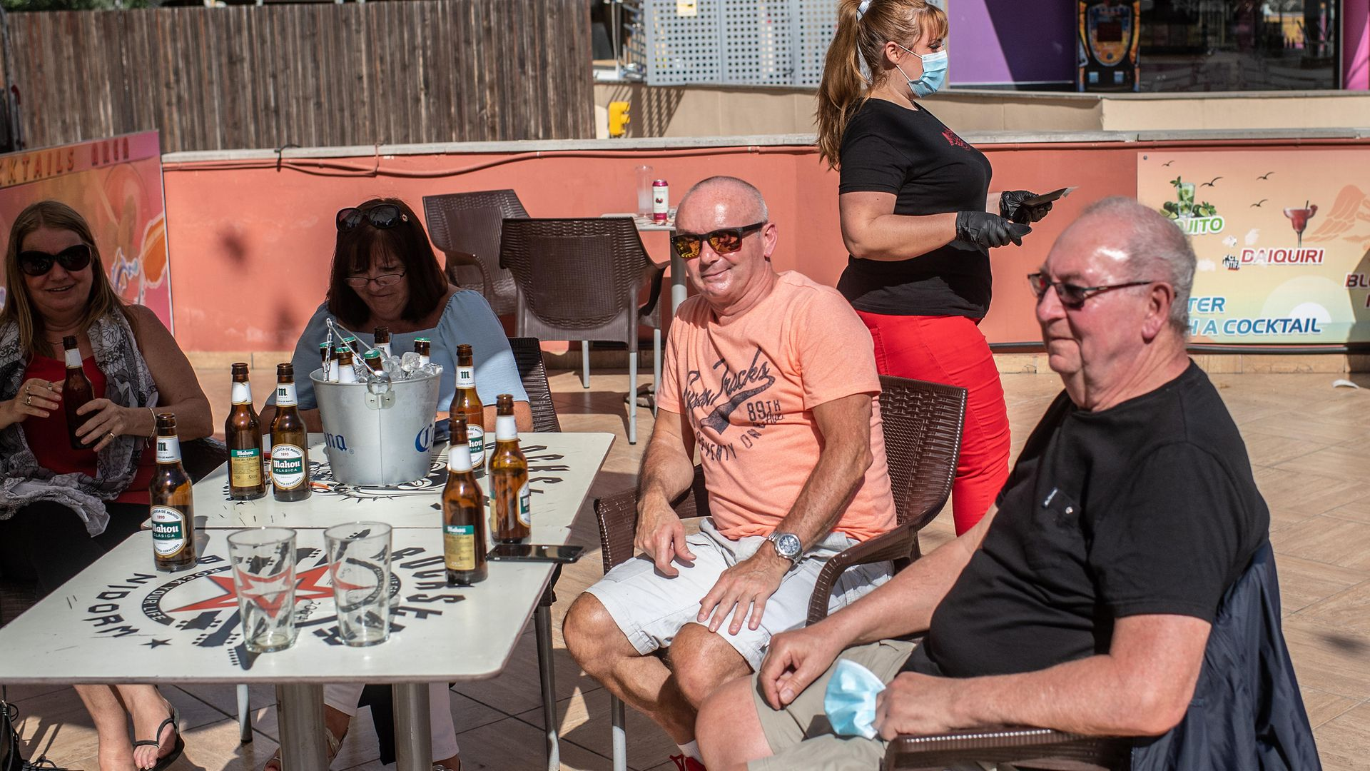 British ex-pats enjoy a drink in Benidorm, May 2020 - Credit: Photo by David Ramos/Getty Images