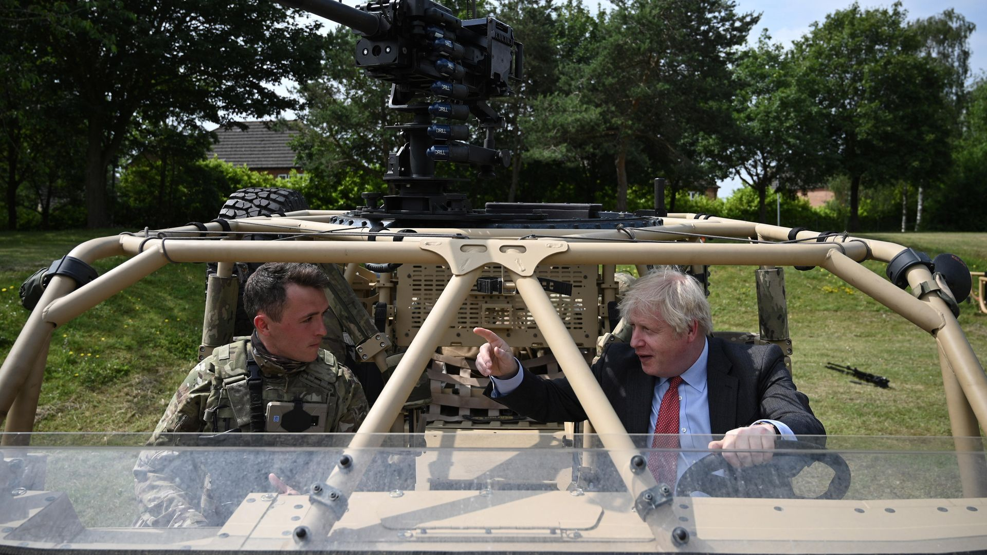 Prime Minister Boris Johnson during a visit to Aldershot Garrison in Hampshire to mark Armed Forces Week - Credit: PA