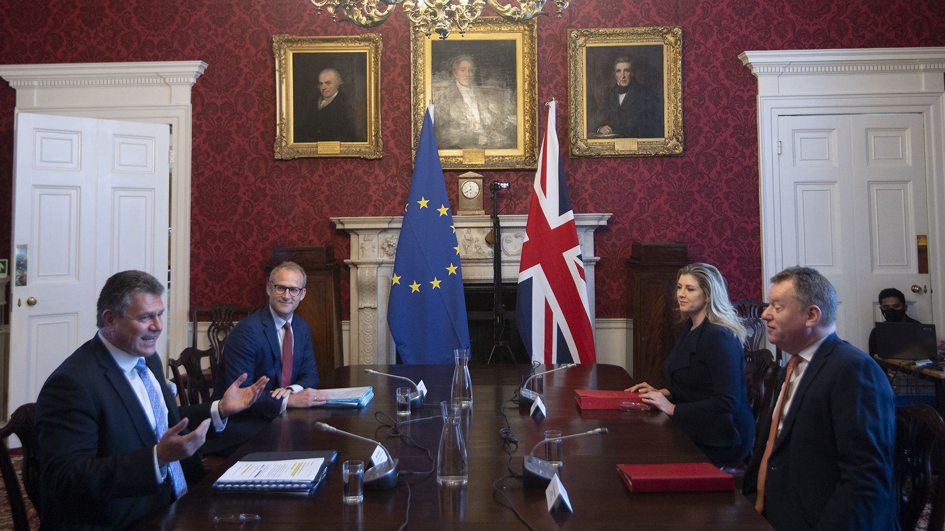 Brexit minister Lord Frost and Penny Mordaunt sitting opposite European Commission vice president Maros Sefcovic and Richard Szostak - Credit: PA