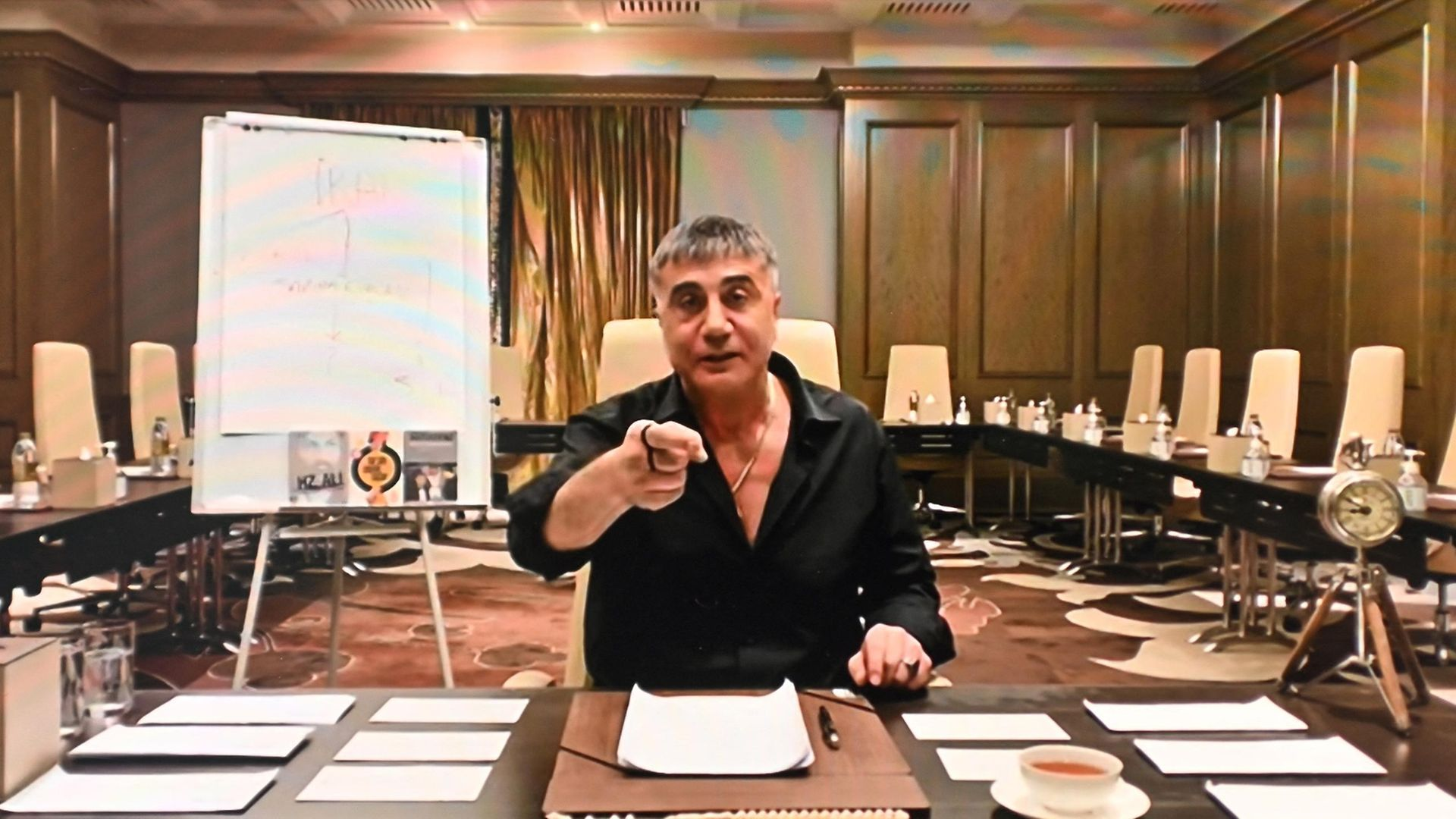 Sedat Peker speaking on his YouTube channel, where he has been broadcasting extraordinary allegations about senior figures in Turkish politics - Credit: AFP via Getty Images