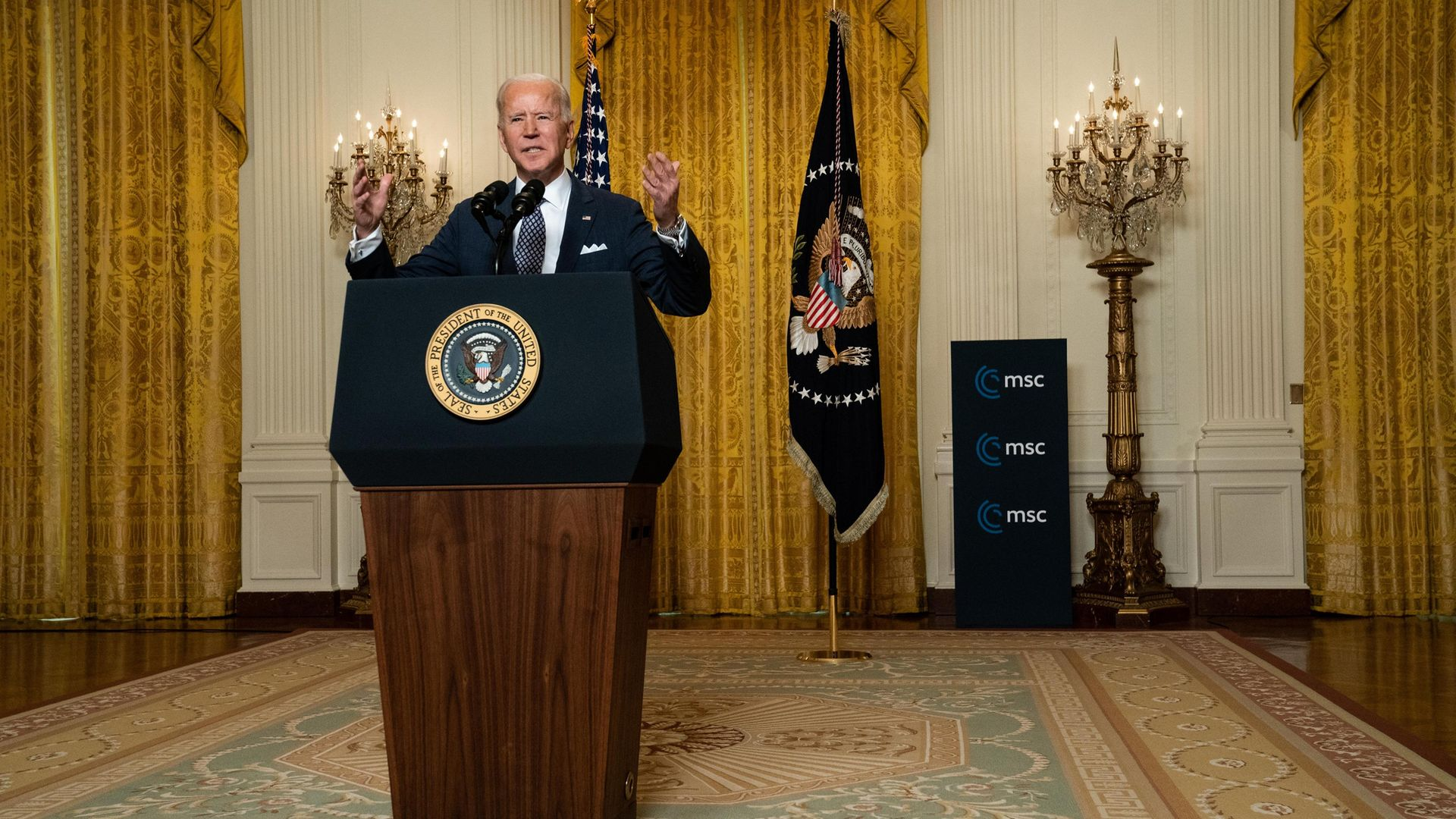 SPEAKING UP: Joe Biden speaks to the Munich Security Conference from the White House - Credit: Getty Images