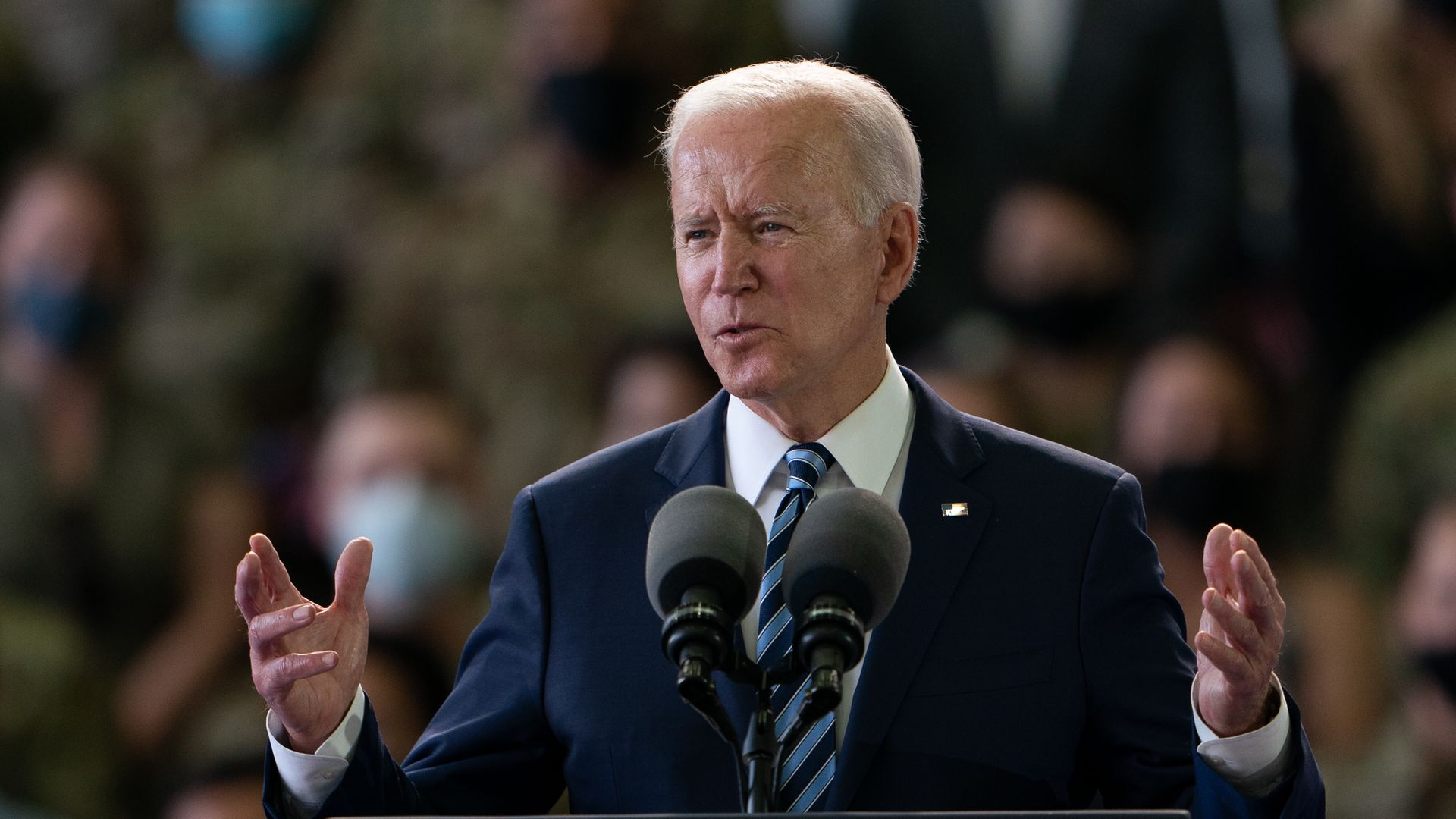 US President Joe Biden addresses US Air Force personnel at RAF Mildenhall in Suffolk, ahead of the G7 summit in Cornwall - Credit: PA