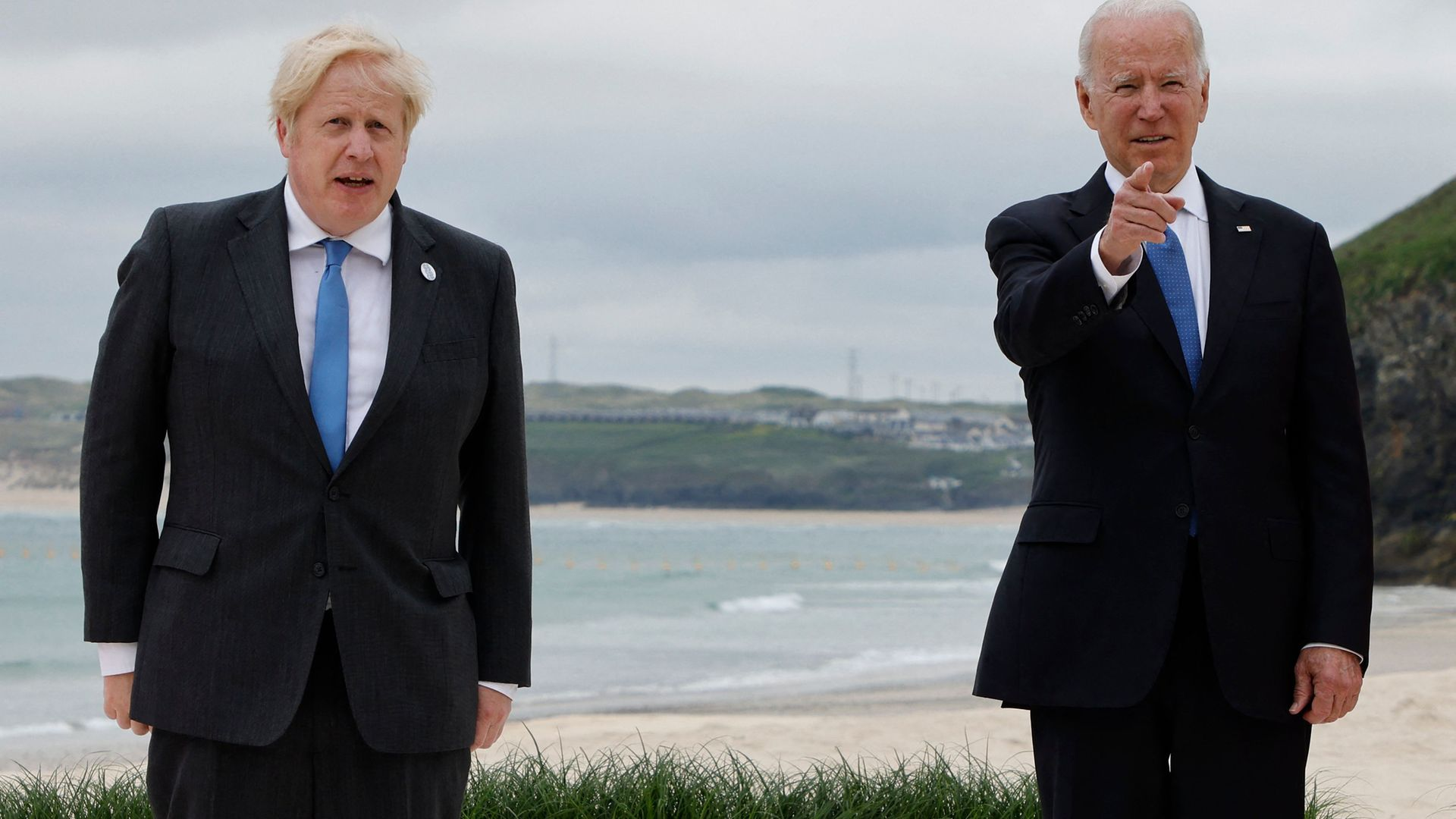 Boris Johnson welcomes  Joe Biden during the G7 summit in Carbis Bay, Cornwall, south-west England - Credit: Photo by LUDOVIC MARIN/AFP via Getty Images