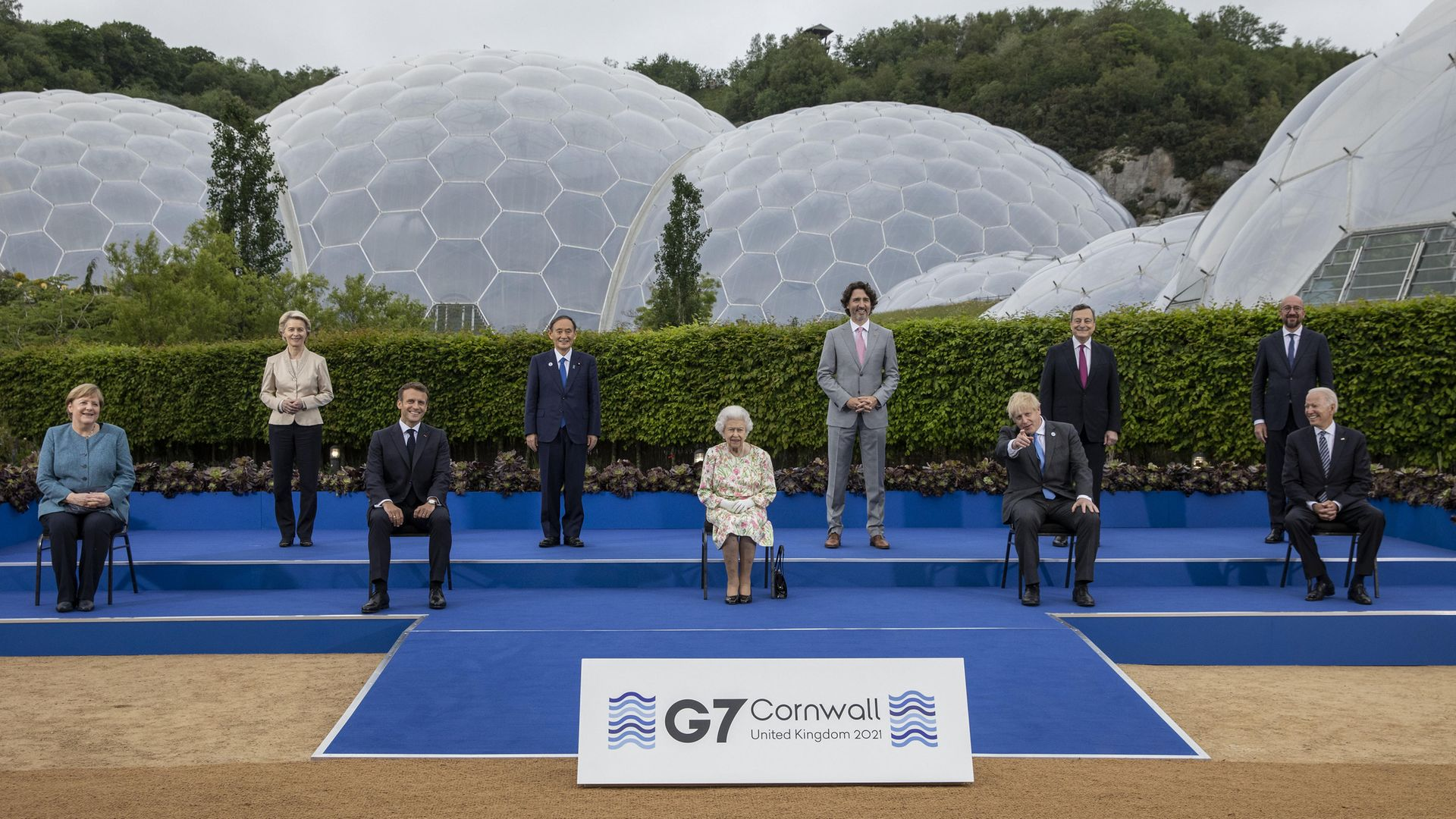The Q, poses with G7 leaders at a reception at the Eden Project, in Cornwall. (Left to right, back row: president of the European Commission Ursula von der Leyen, Japanese PM Yoshihide Suga, Canadian PM Justin Trudeau, Italian PM Mario Draghi, president of the European Council Charles Michel; front row, left to right) German chancellor Angela Merkel, French president Emmanuel Macron, British PM Boris Johnson and US president Joe Biden) - Credit: PA