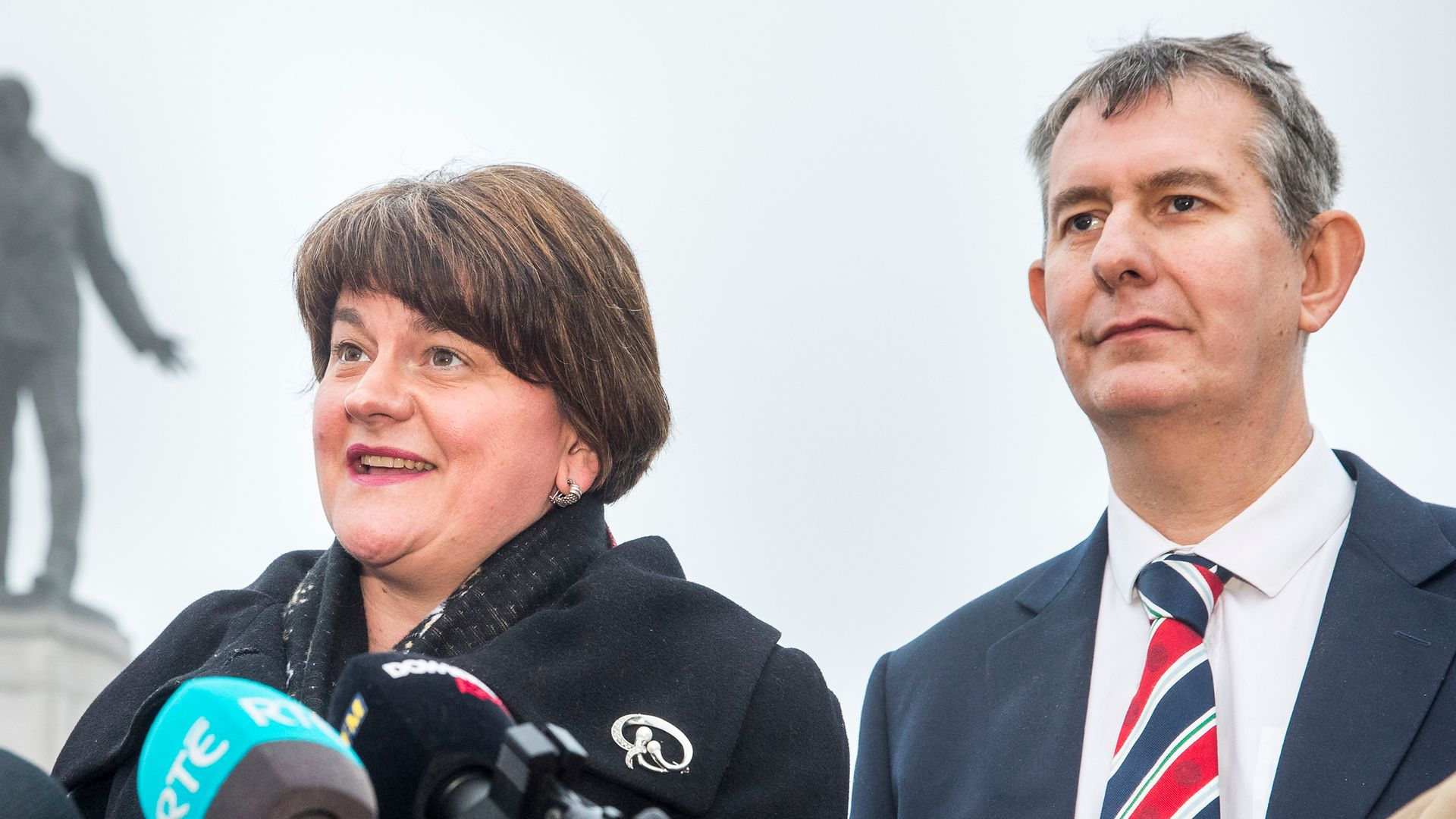 DUP outgoing leader Arlene Foster and incoming leader Edwin Poots - Credit: PA