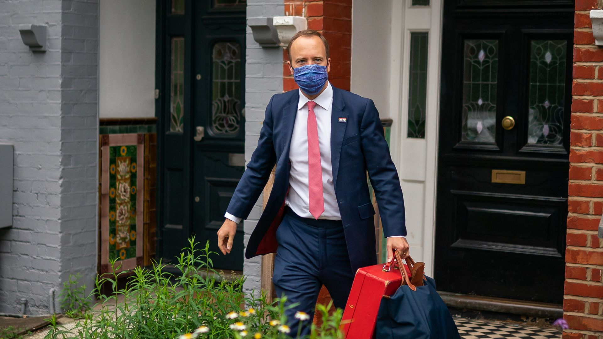 Health Minister Matt Hancock outside his home in north-west London, the day after a series of WhatsApp exchanges were published, criticising him over coronavirus testing - Credit: PA
