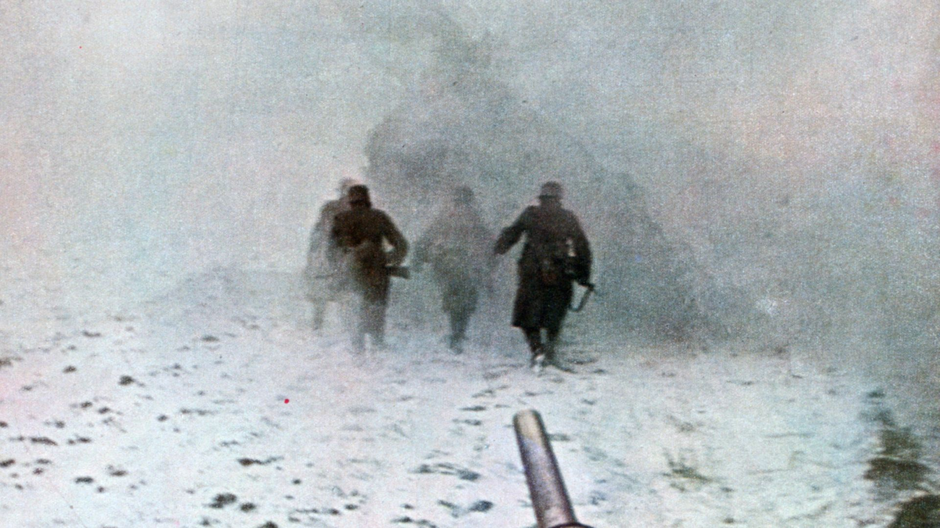 German soldiers advance in wintry conditions during the Battle of Moscow. The image is a Signal, a magazine published by the Wehrmacht from 1940 to 1945 - Credit: Print Collector/Getty Images