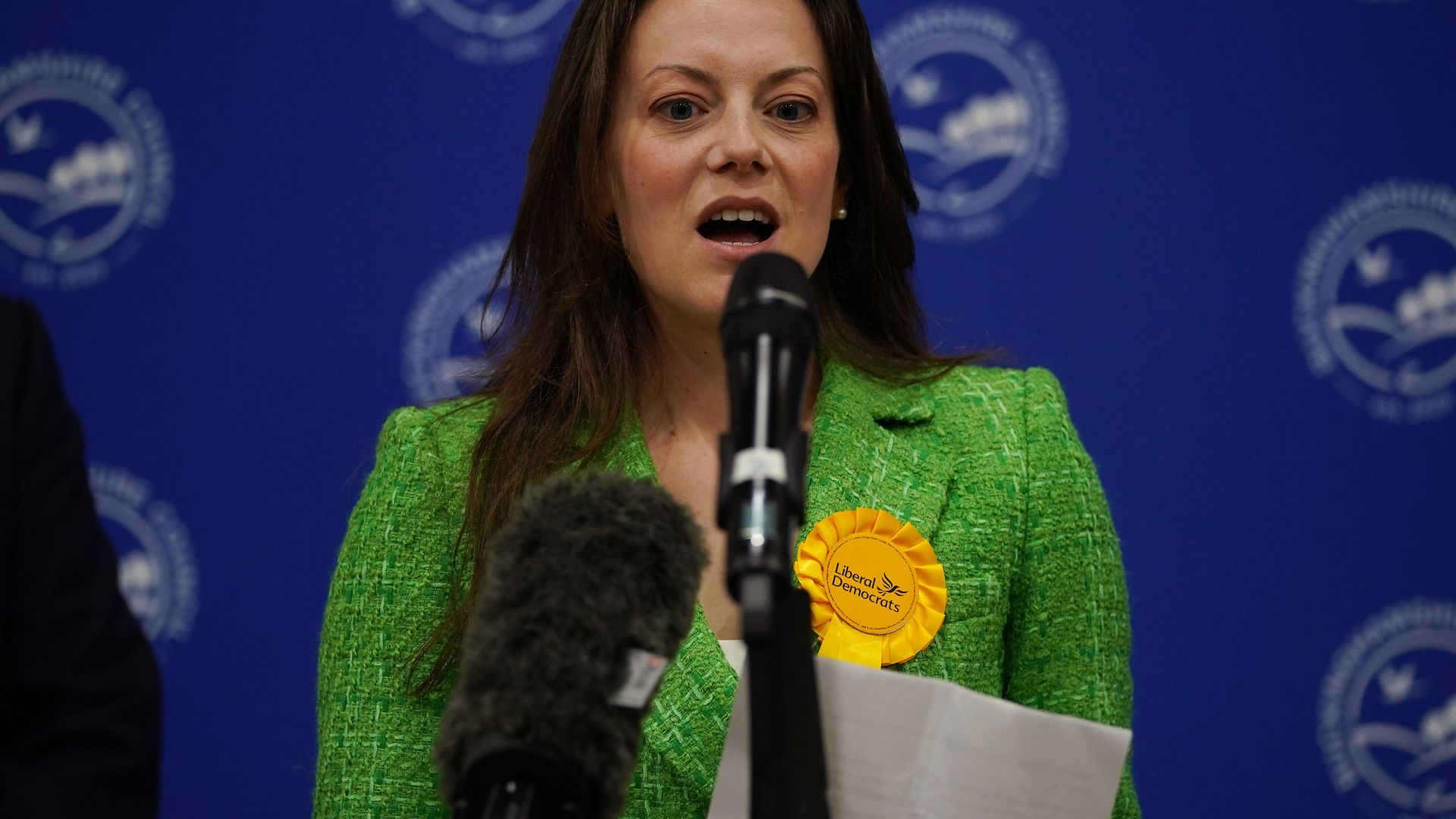 Sarah Green of the Liberal Democrats makes a speech after being declared winner in the Chesham and Amersham by-election at Chesham Leisure Centre in Chesham, Buckinghamshire - Credit: PA