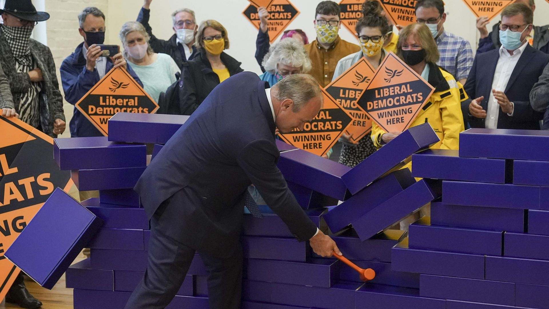 Liberal Democrat leader Ed Davey during a victory rally at Chesham Youth Centre in Chesham, Buckinghamshire, after Sarah Green won the Chesham and Amersham by-election - Credit: PA