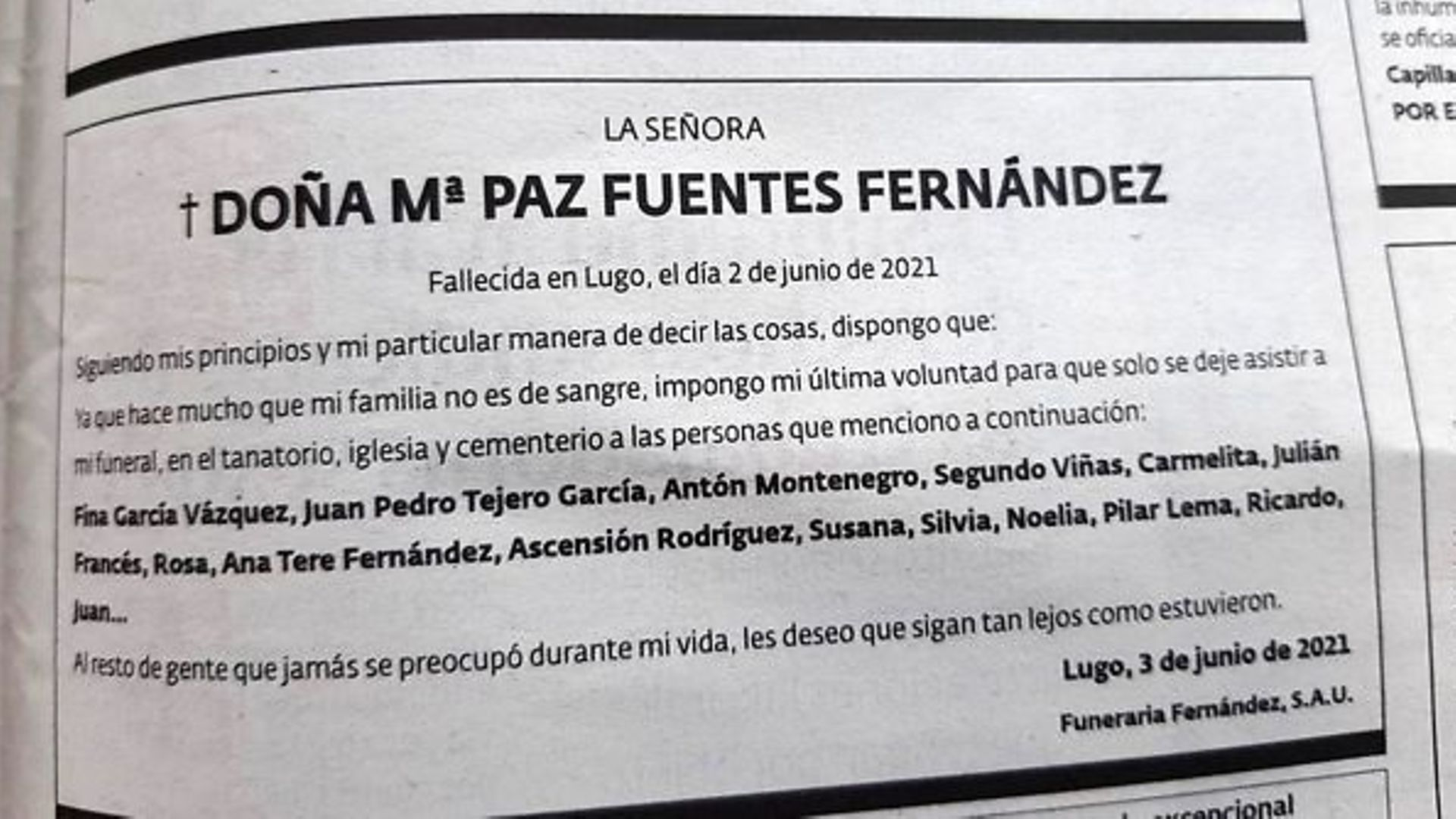 Th funeral notice for María Paz Fuentes Fernández - Credit: Twitter