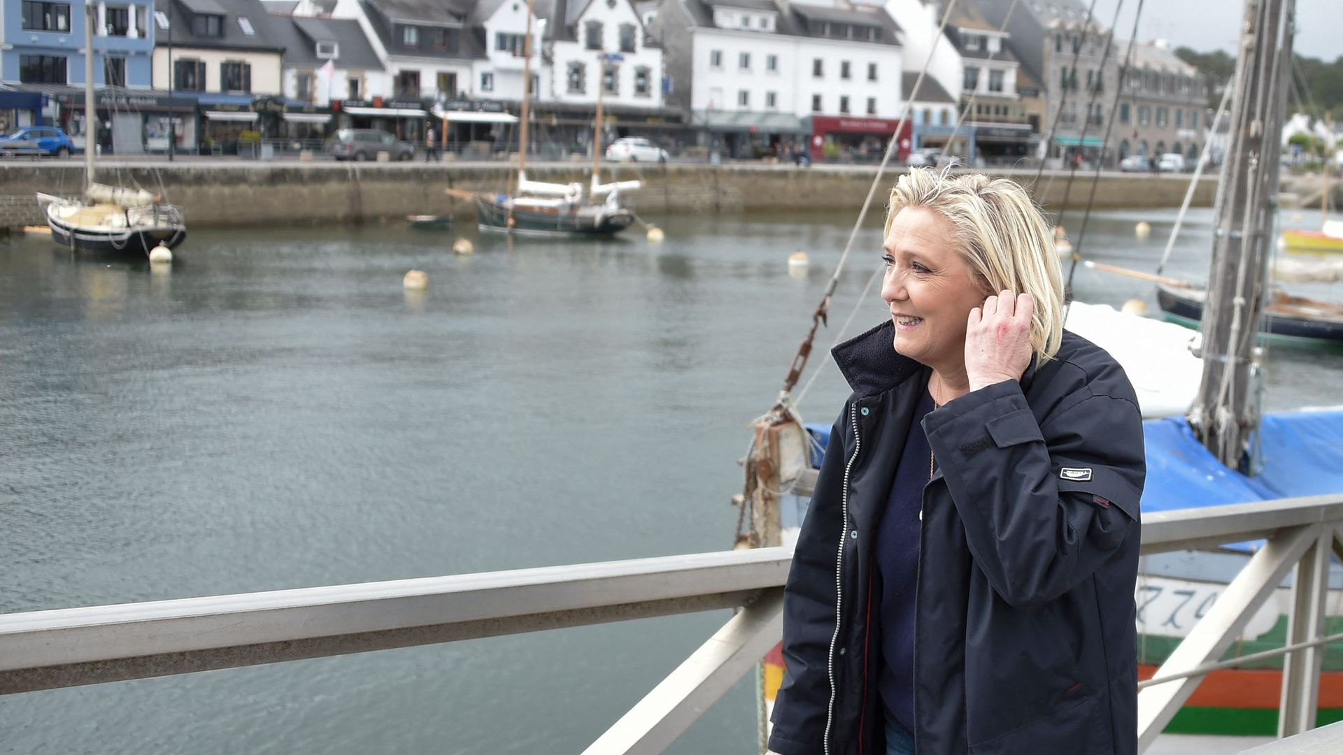 Marine Le Pen in La Trinite-sur-Mer during campaigning for Brittany's recent regional elections - Credit: AFP via Getty Images