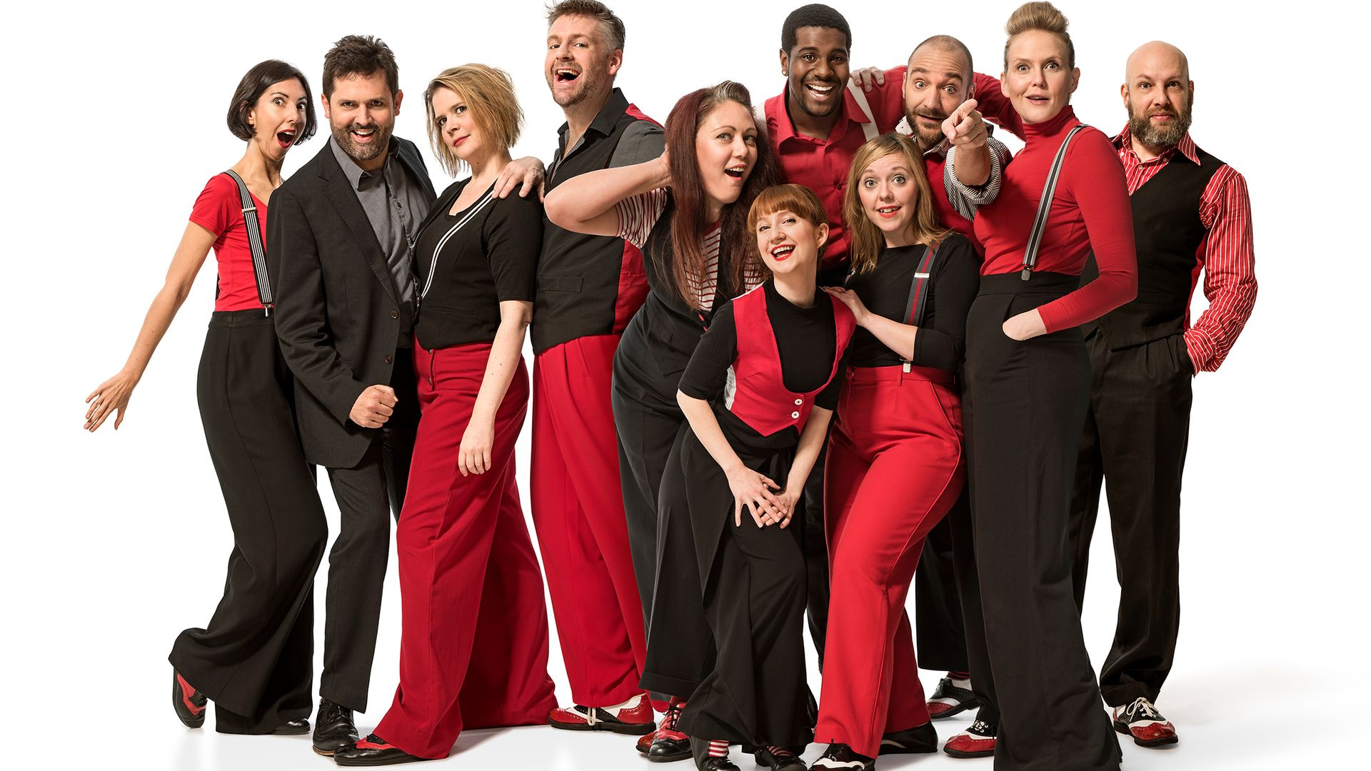 The ensemble cast of Showstopper! The Improvised Musical - Credit: Garrick