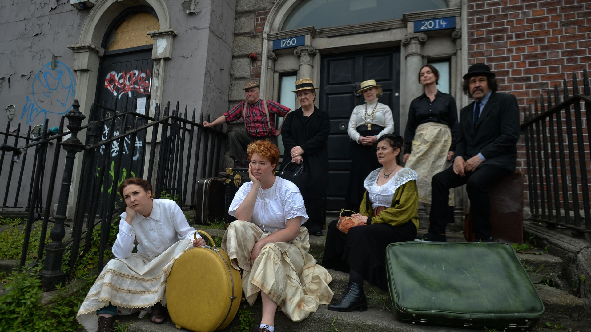 Irish actors (from left) Katie O'Kelly, Donal O'Kelly, Madi O'Carroll, Marion O'Dwyer, Sinead Murphy, Maria Hayden, Rachael Dowling and Stephen Rea, protest in front of 15 Usher's Island, made famous by a James Joyce short story, The Dead - Credit: NurPhoto via Getty Images
