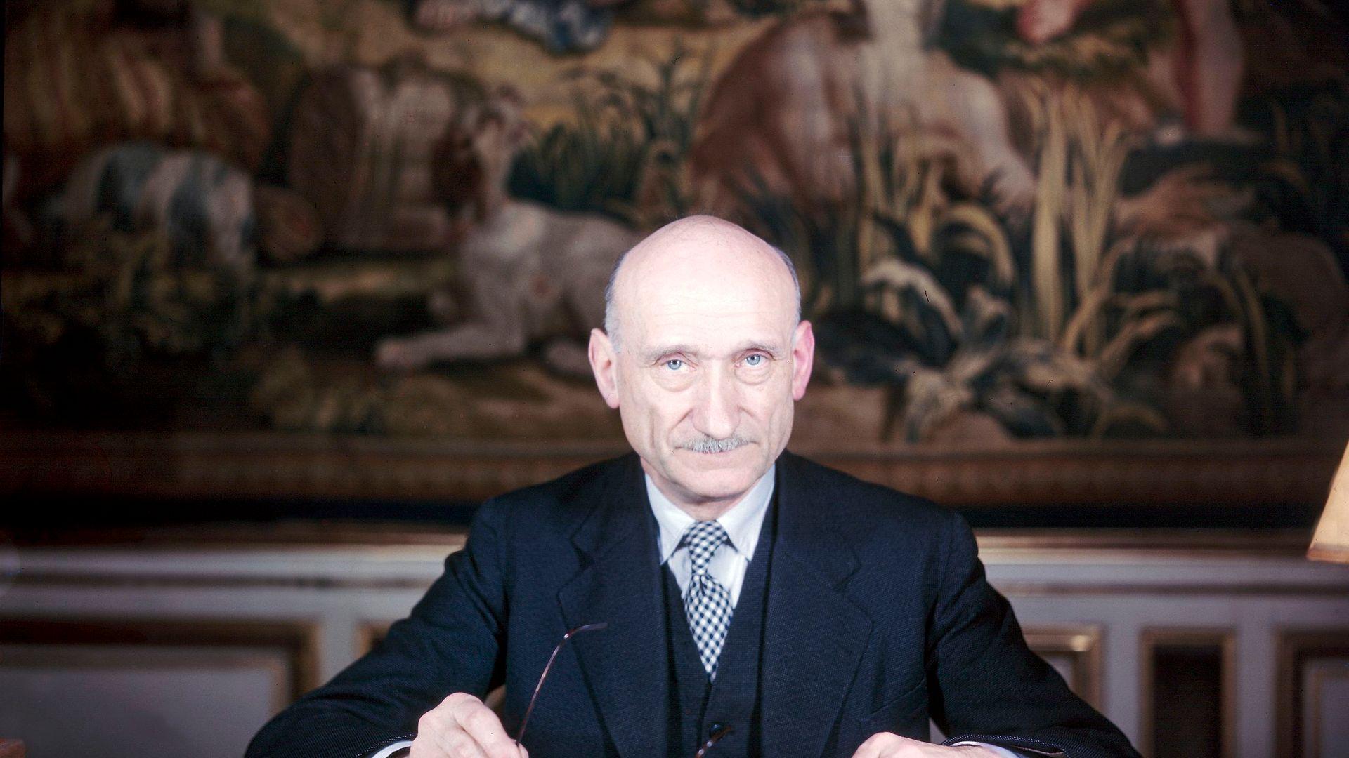 Robert Schuman at his desk in Strasbourg in around 1960 - Credit: Gamma-Keystone via Getty Images