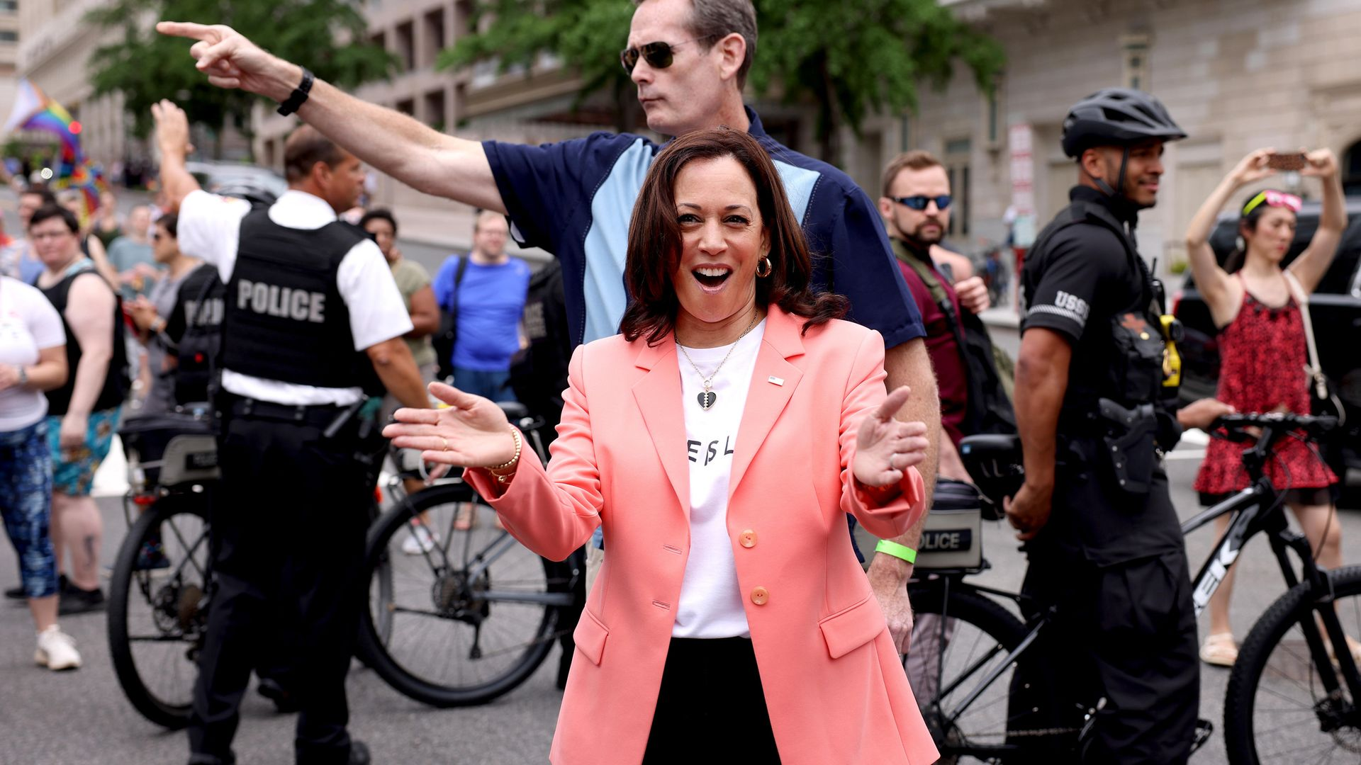 Vice-president  Kamala Harris joins marchers for the Capital Pride Parade on June 12, 2021 in Washington, DC - Credit: Photo by Anna Moneymaker/Getty Images