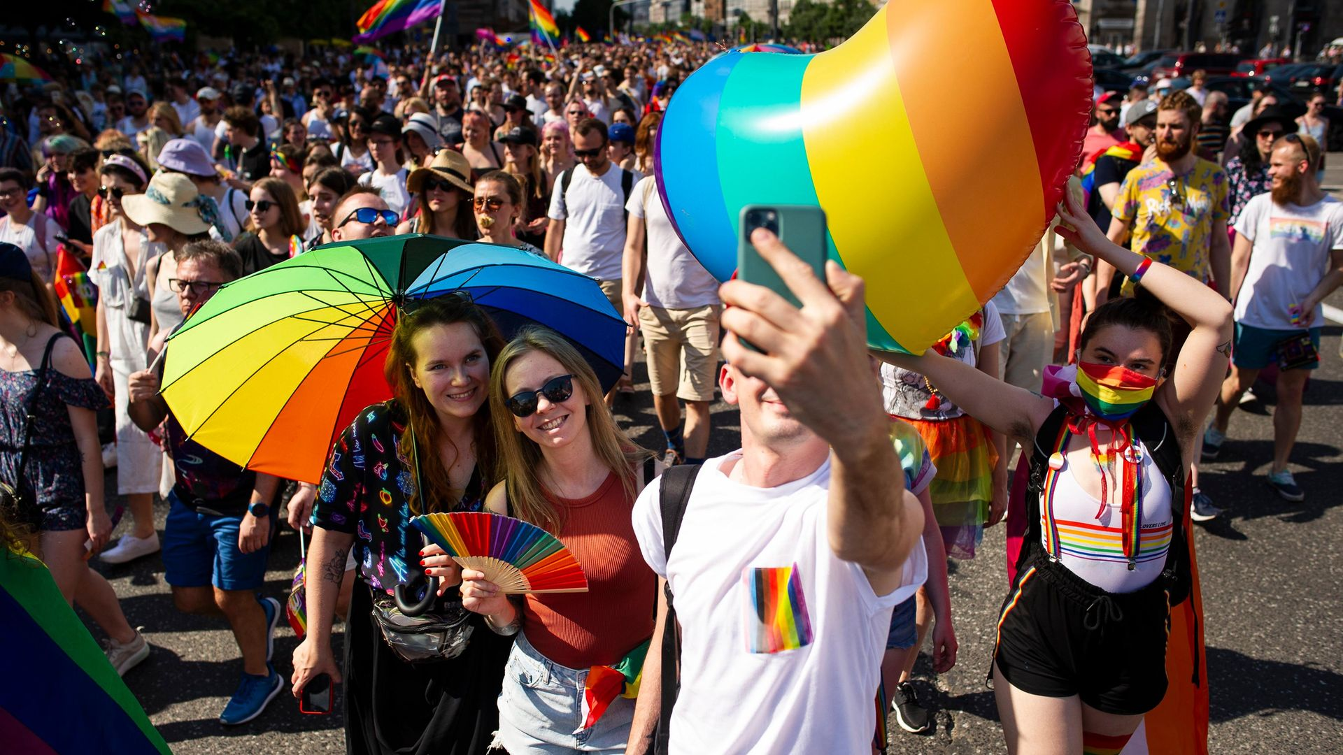 Warsaw's Equality Parade, in June 2021 - Credit: NurPhoto via Getty Images